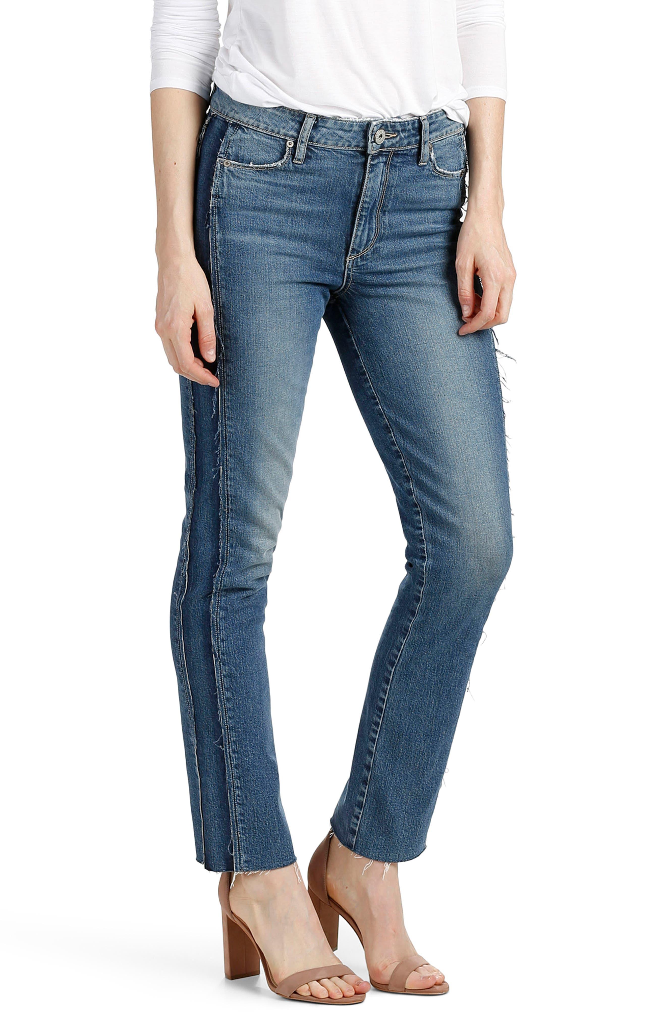 Legacy - Julia Tuxedo Stripe Raw Straight Leg Jeans,                             Alternate thumbnail 3, color,                             Dawn Racer