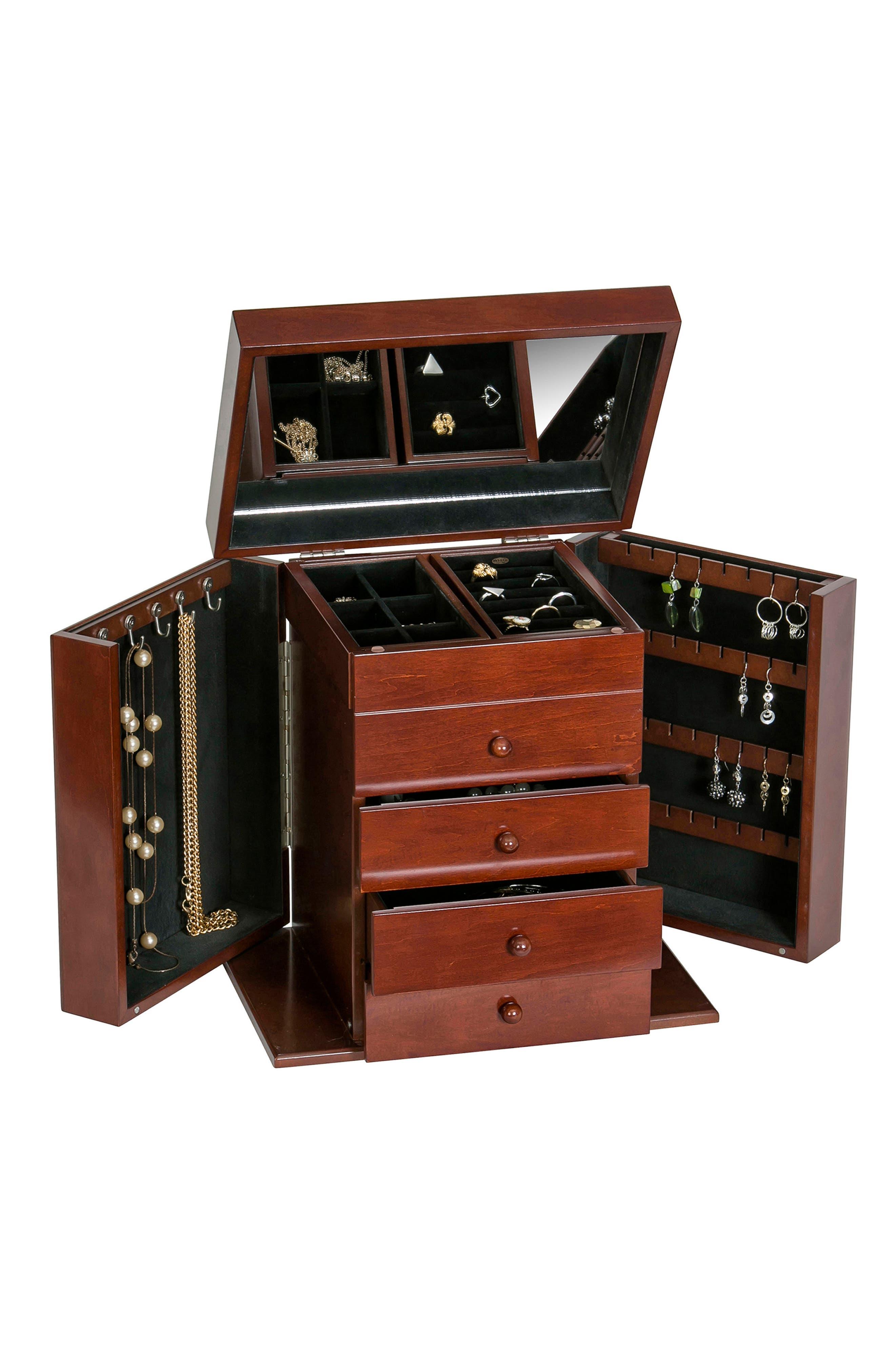 Shelburne Jewelry Box,                             Alternate thumbnail 3, color,                             Brown