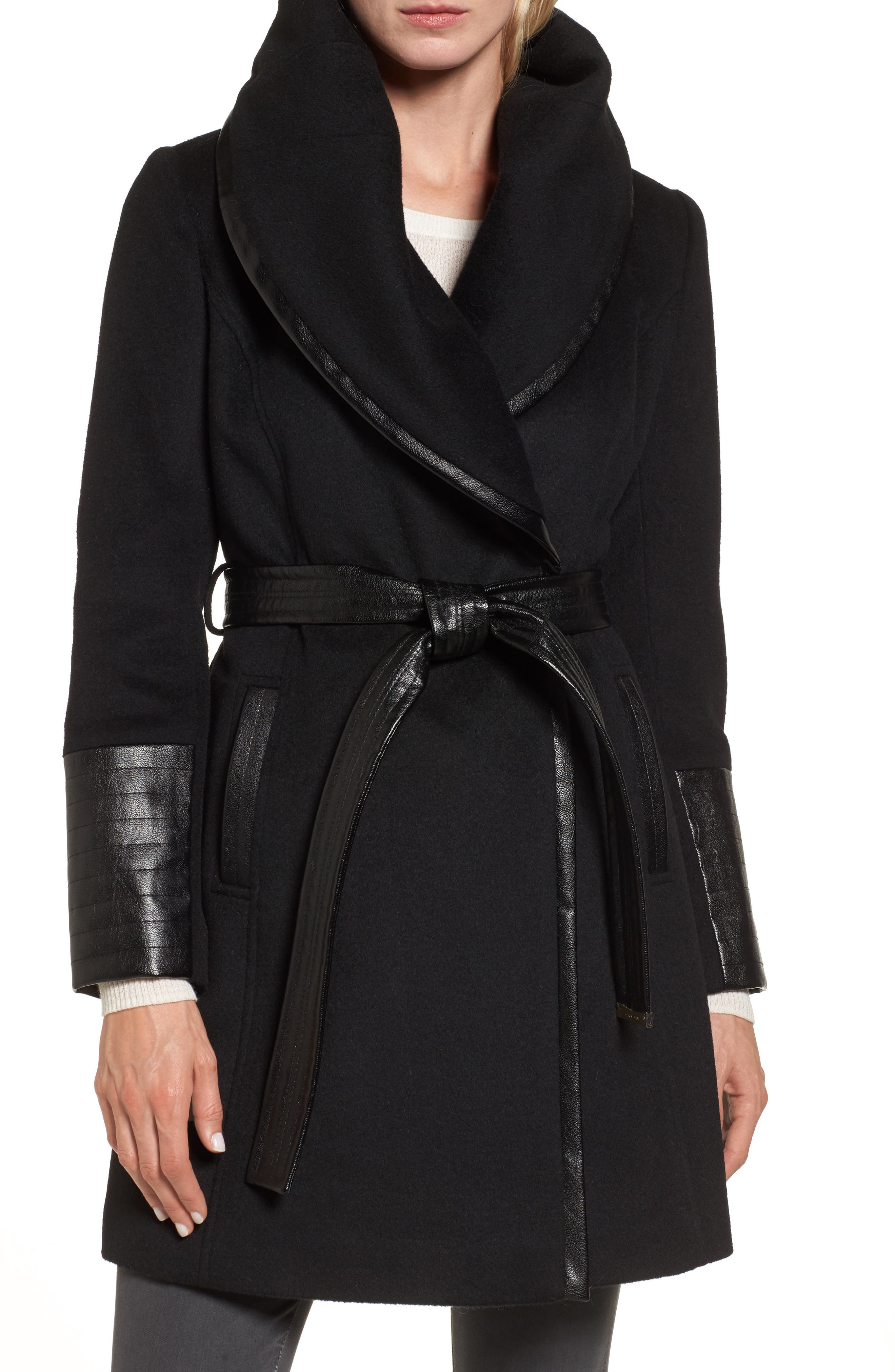 Wool Blend Coat,                         Main,                         color, Black