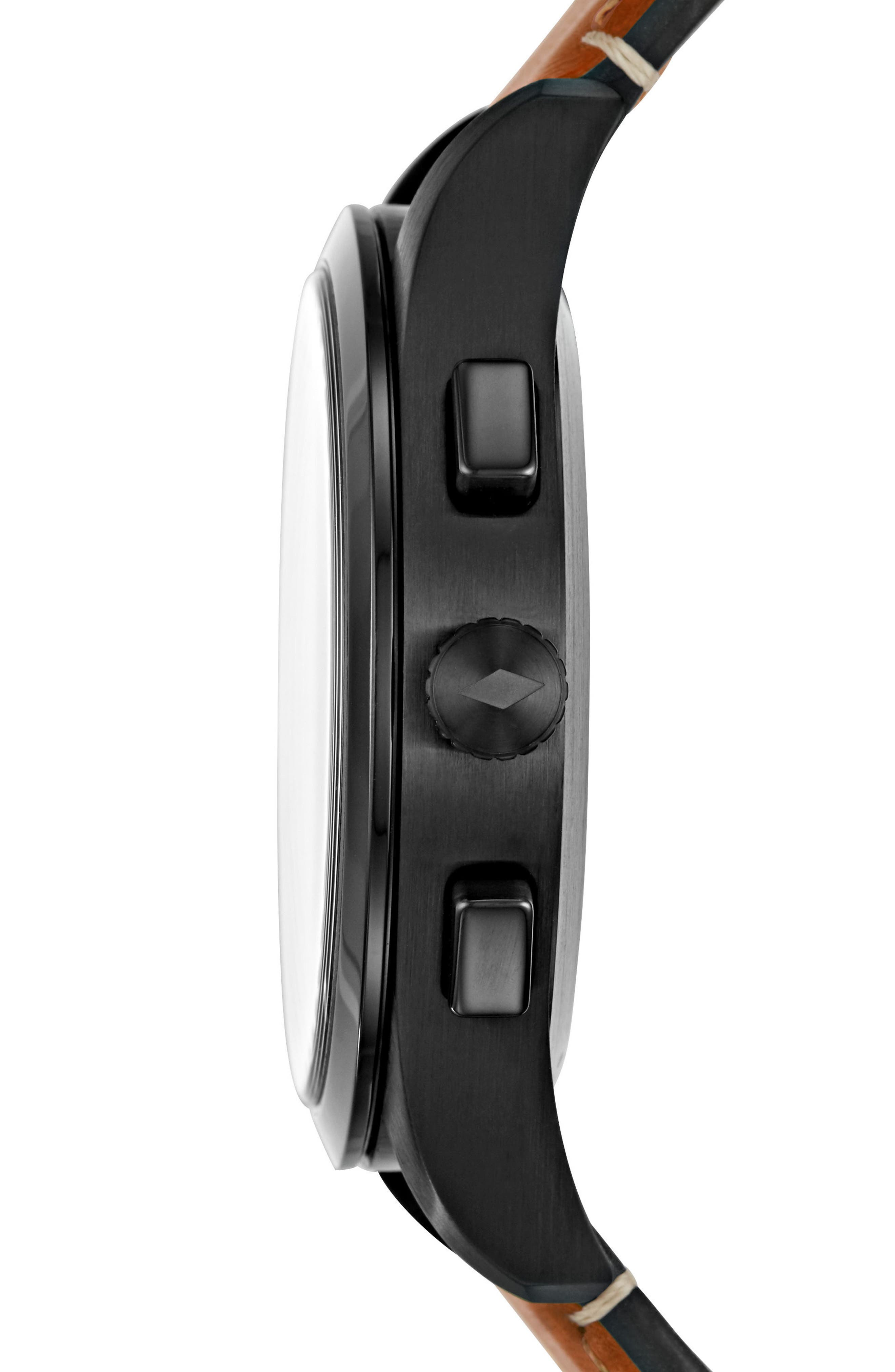 Q Activist Hybrid Leather Strap Watch, 42mm,                             Alternate thumbnail 2, color,                             Brown/ Black