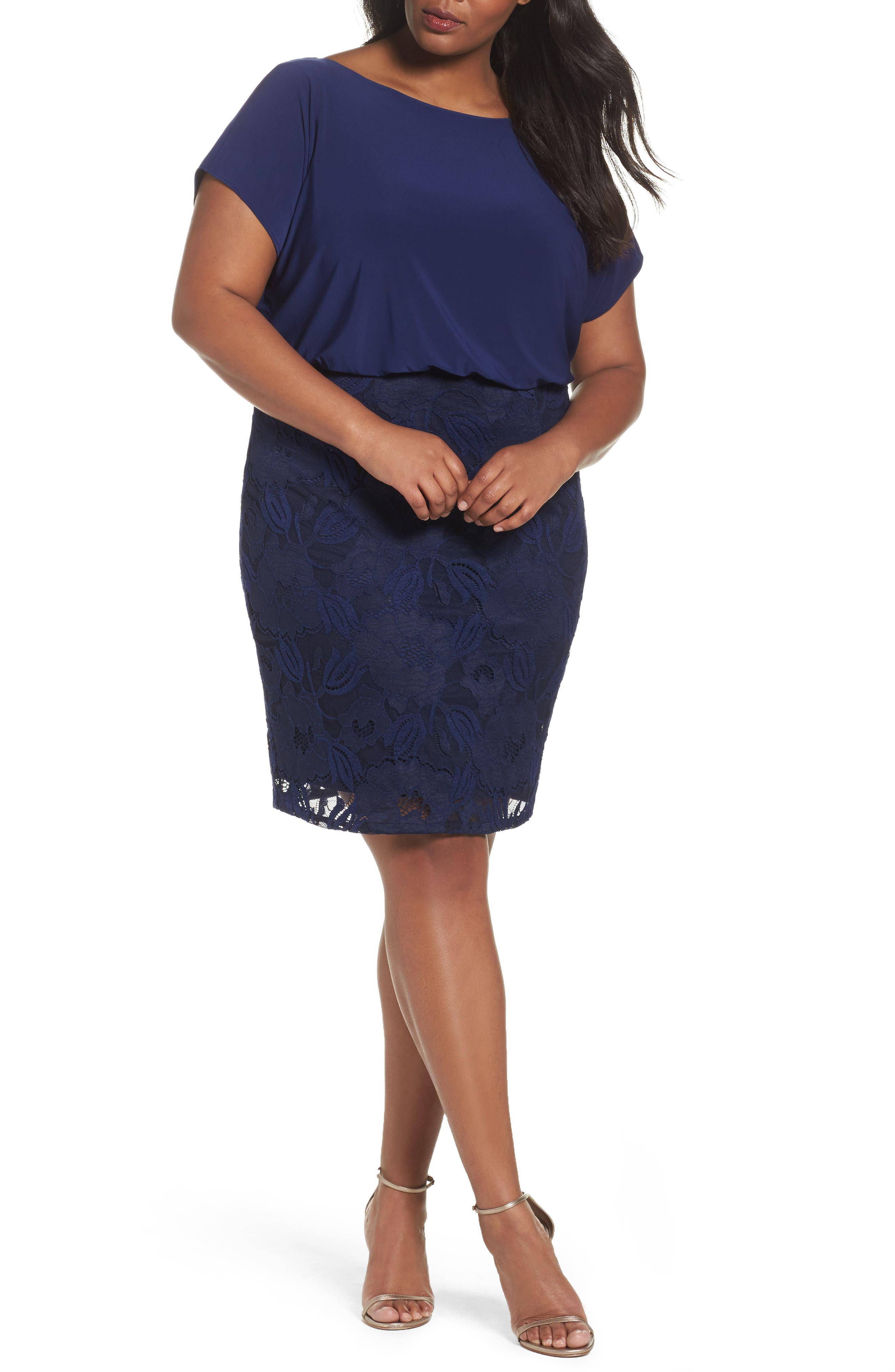Adrianna Papell Mixed Media Blouson Dress (Plus Size)