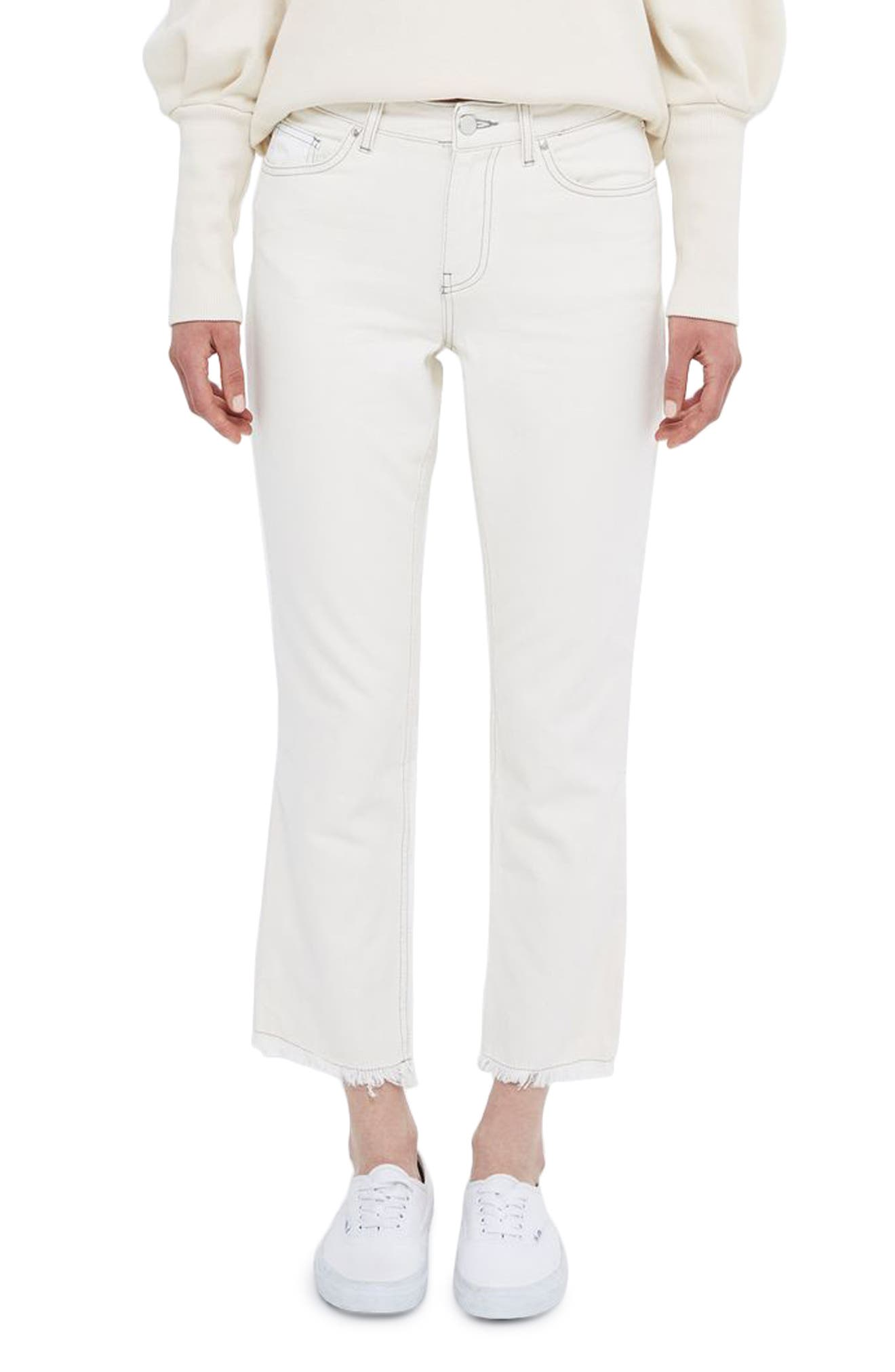 Topshop Boutique Contrast Panel Straight Leg Jeans