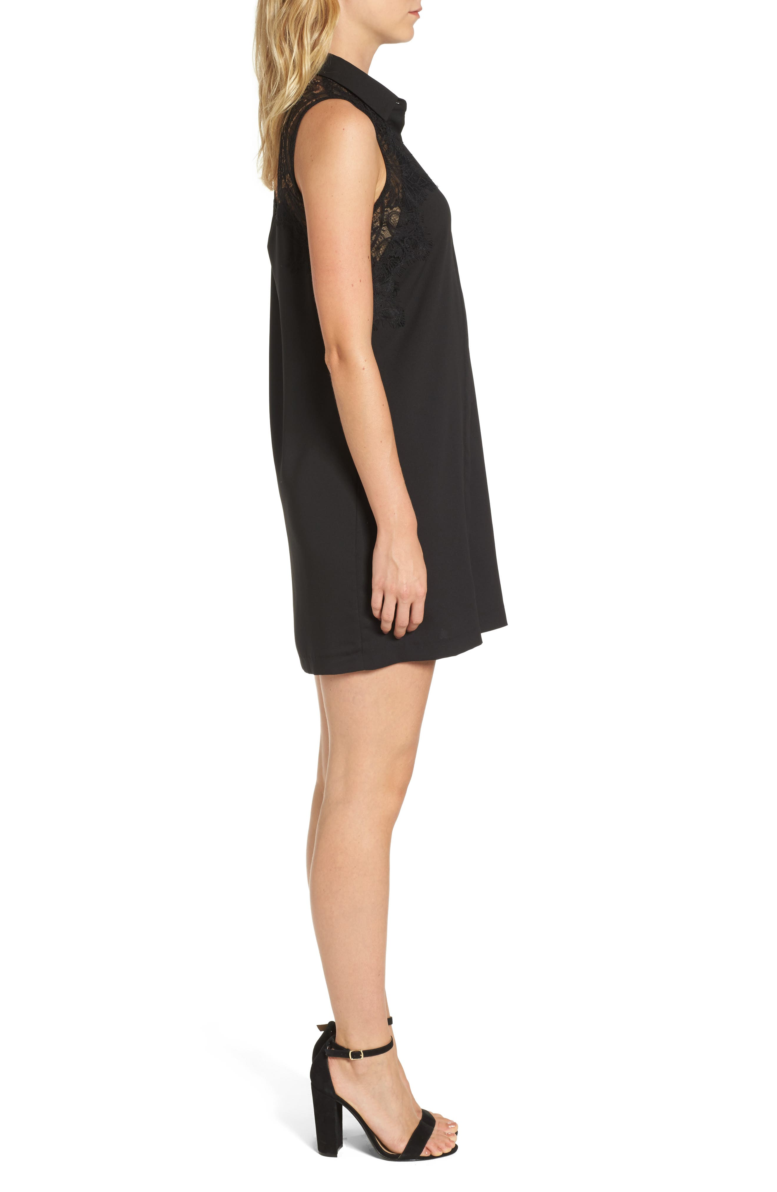 Stella Lace Detail Shirtdress,                             Alternate thumbnail 3, color,                             Black
