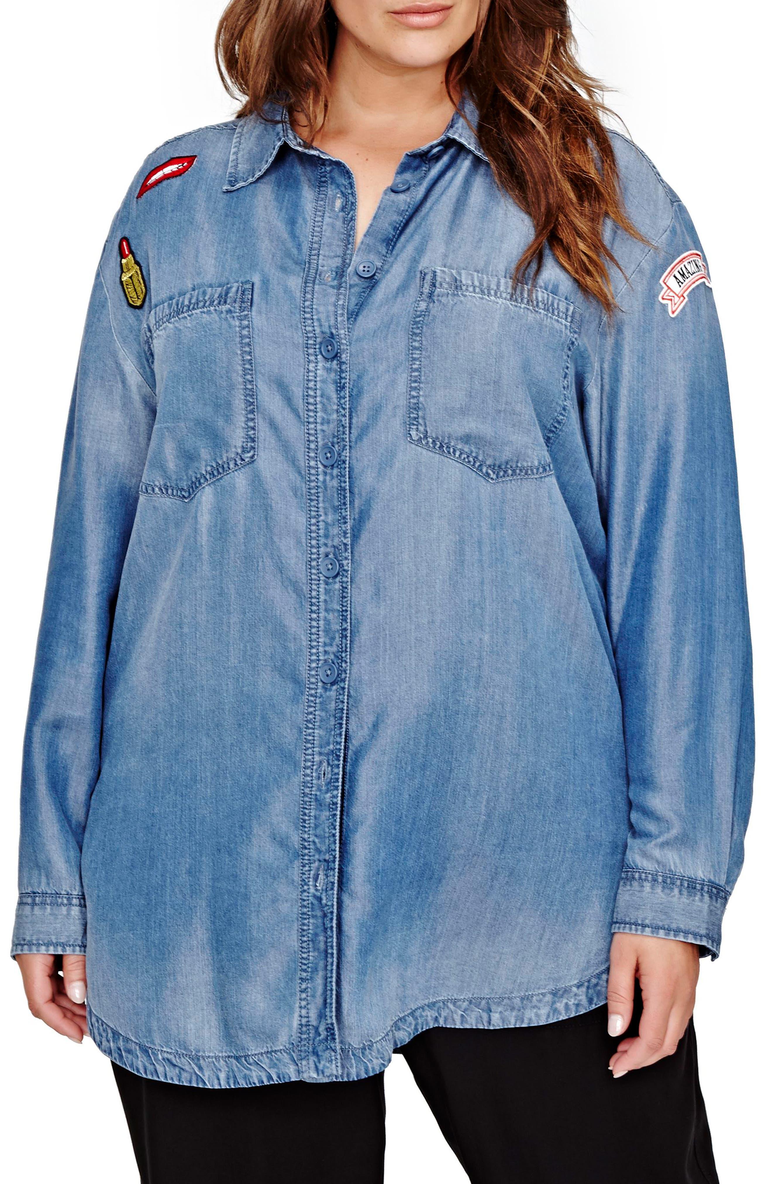 ADDITION ELLE LOVE & LEGEND Patch Denim Shirt (Plus Size)