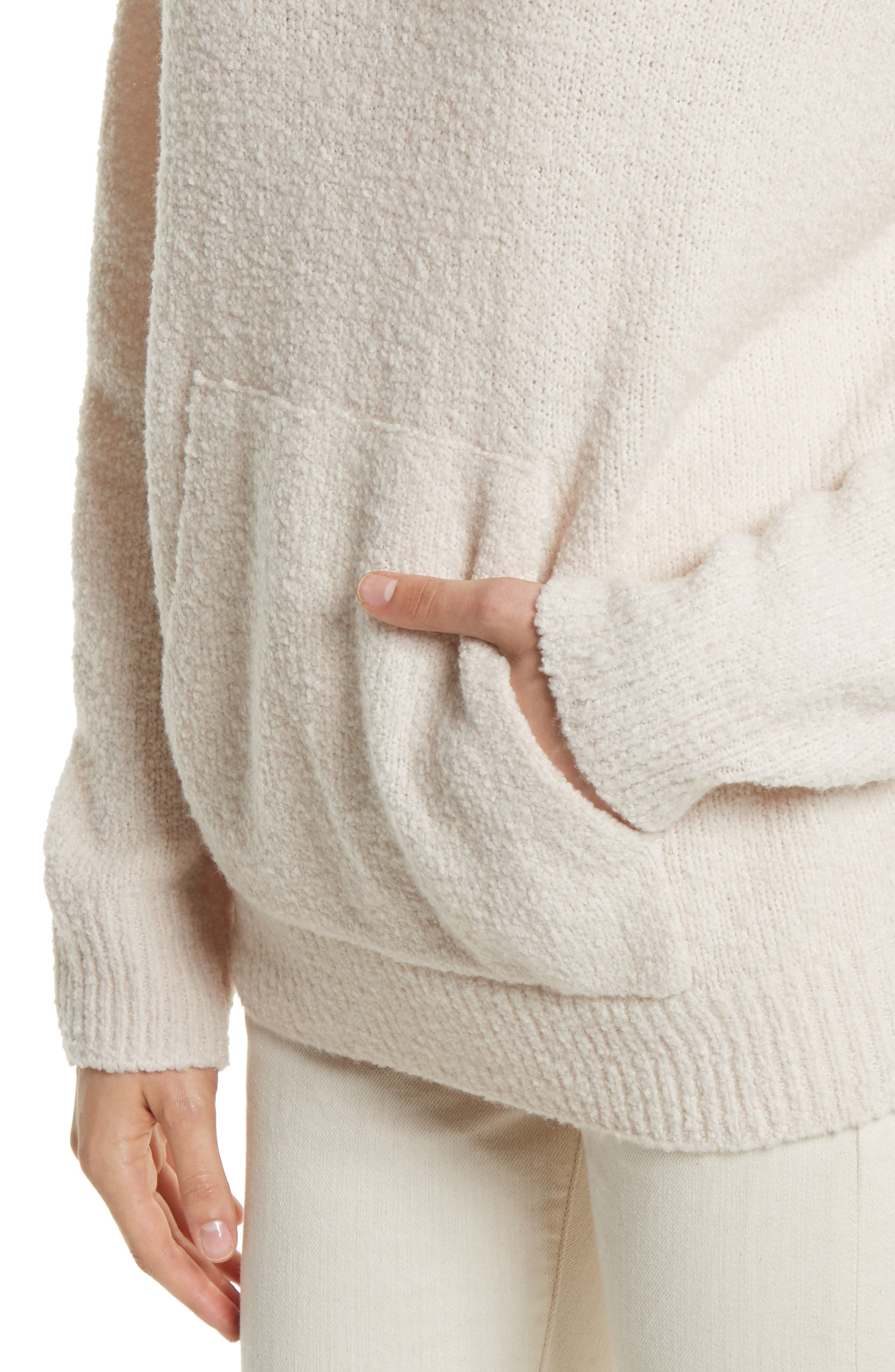 Pullover Knit Hoodie,                             Alternate thumbnail 4, color,                             Off White