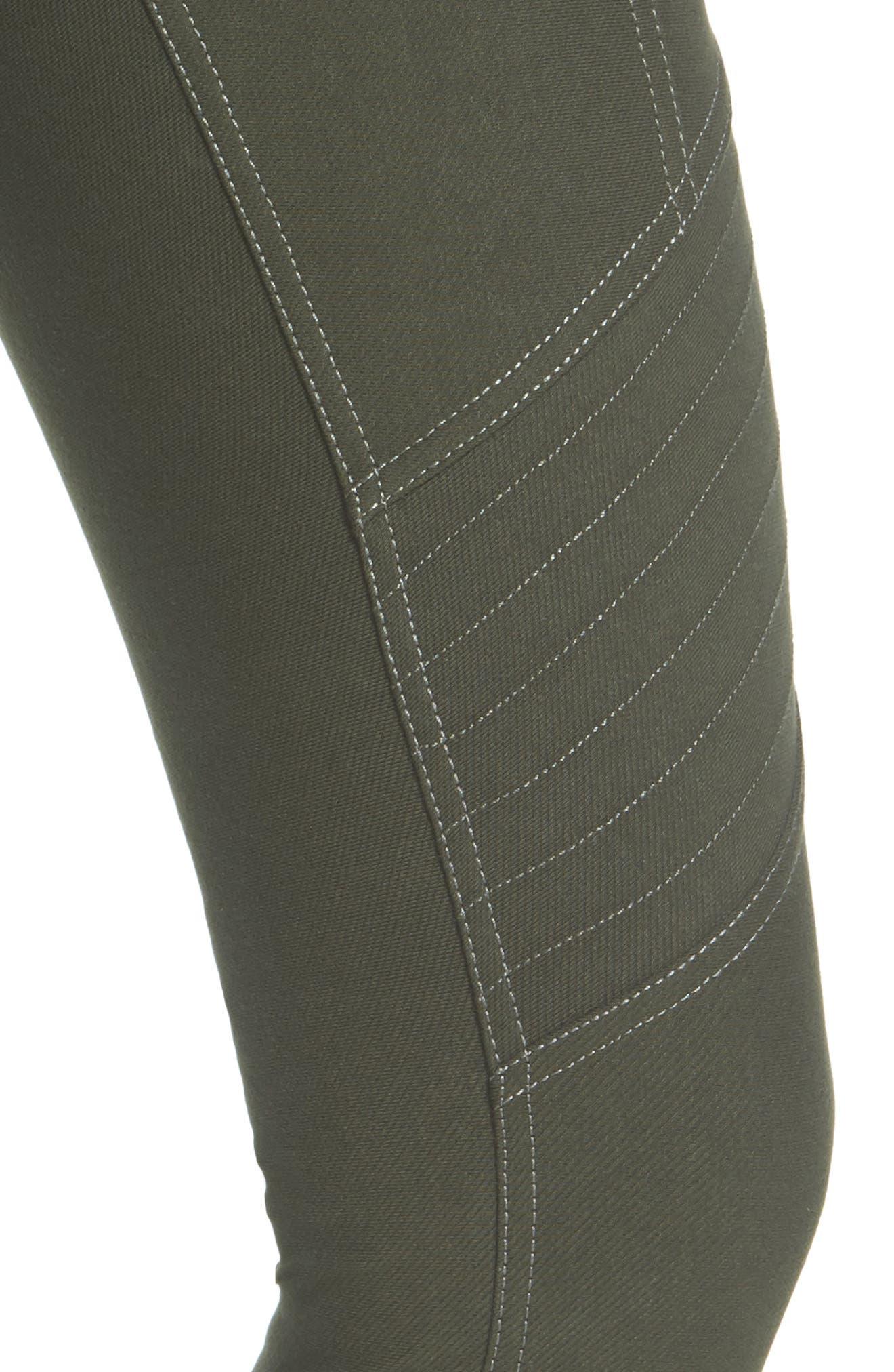 Essential Denim Moto Leggings,                             Alternate thumbnail 5, color,                             Olive