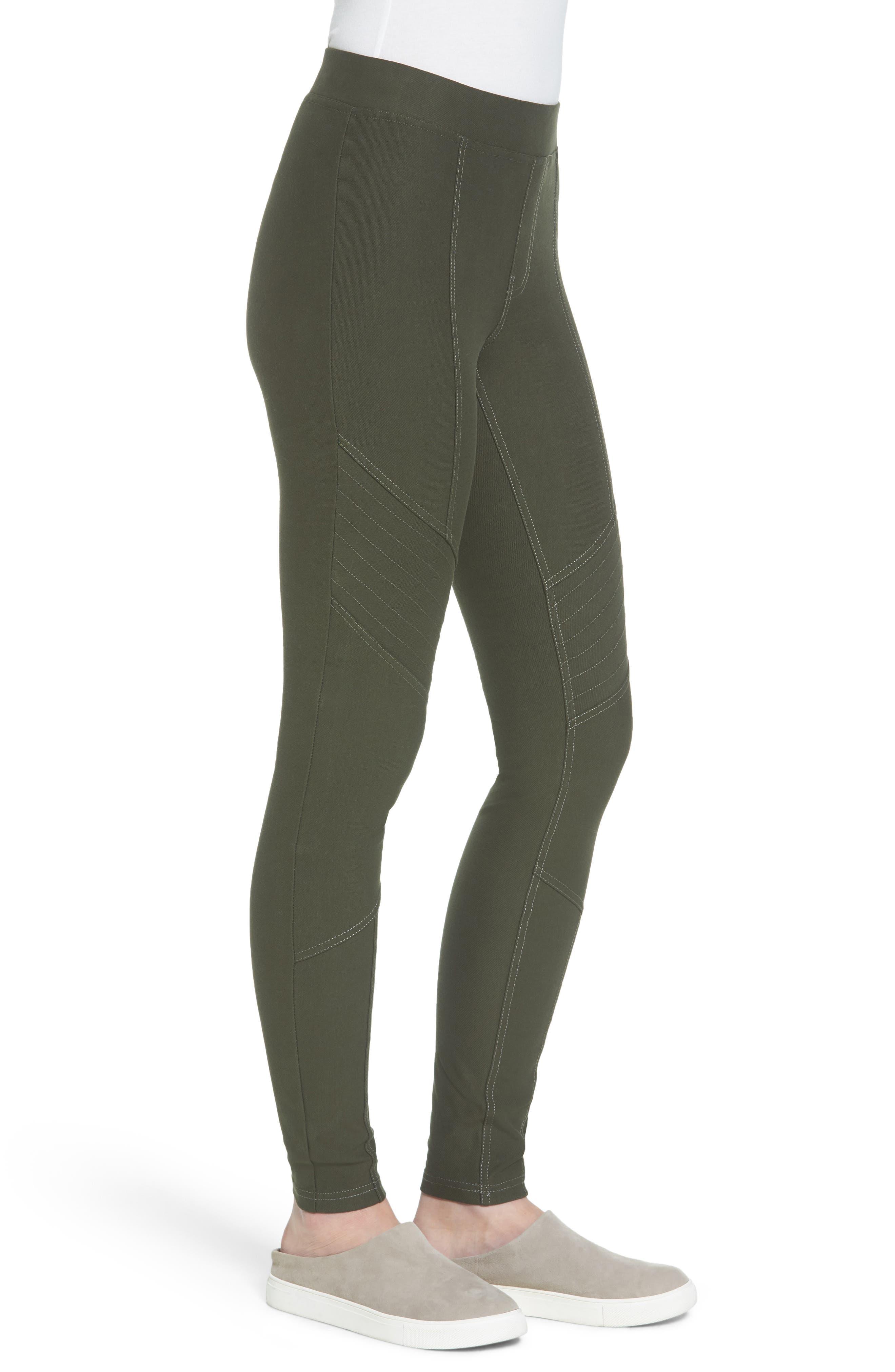 Essential Denim Moto Leggings,                             Alternate thumbnail 3, color,                             Olive