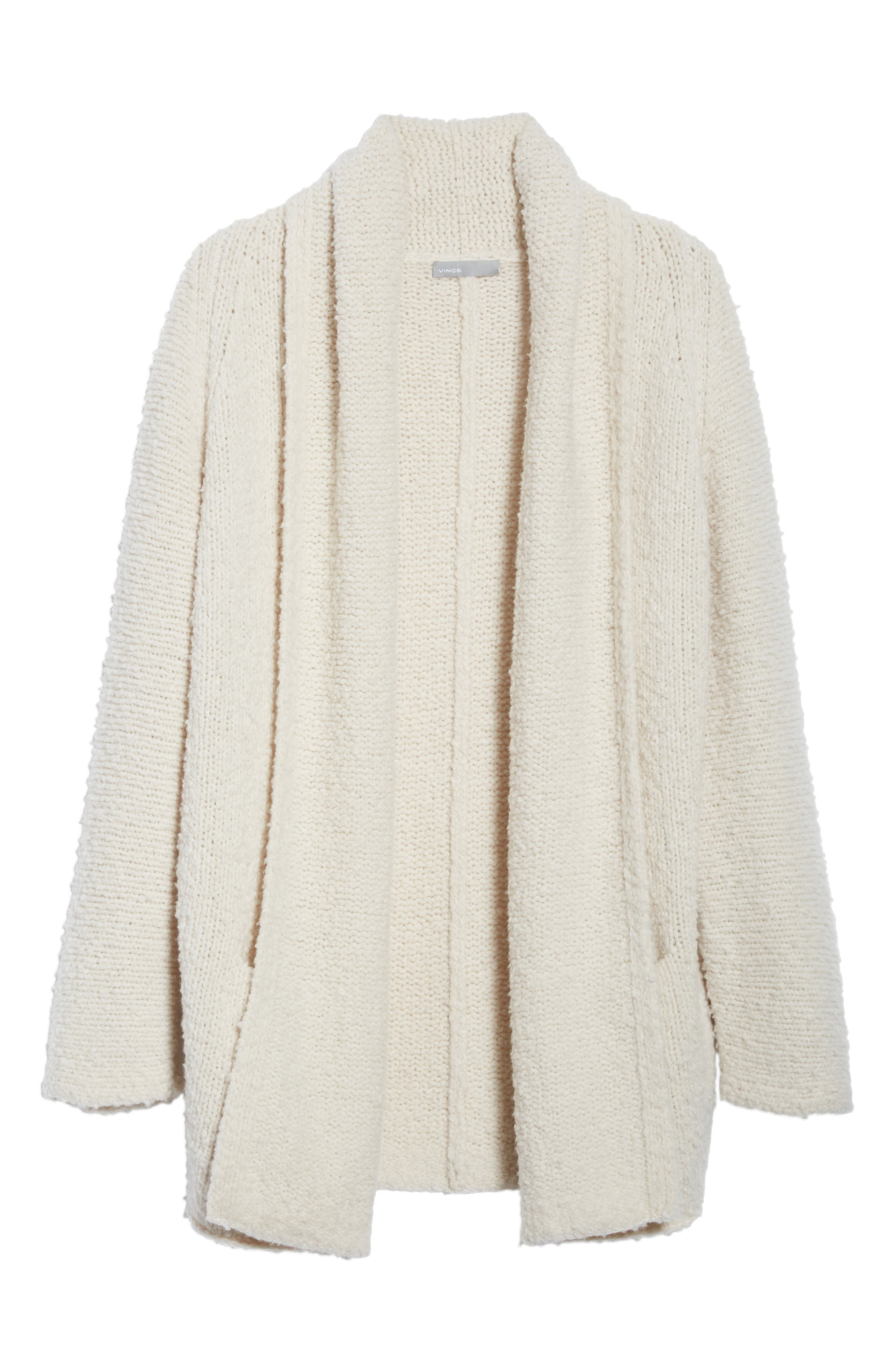Drape Front Wool Knit Cardigan,                             Alternate thumbnail 6, color,                             Off White