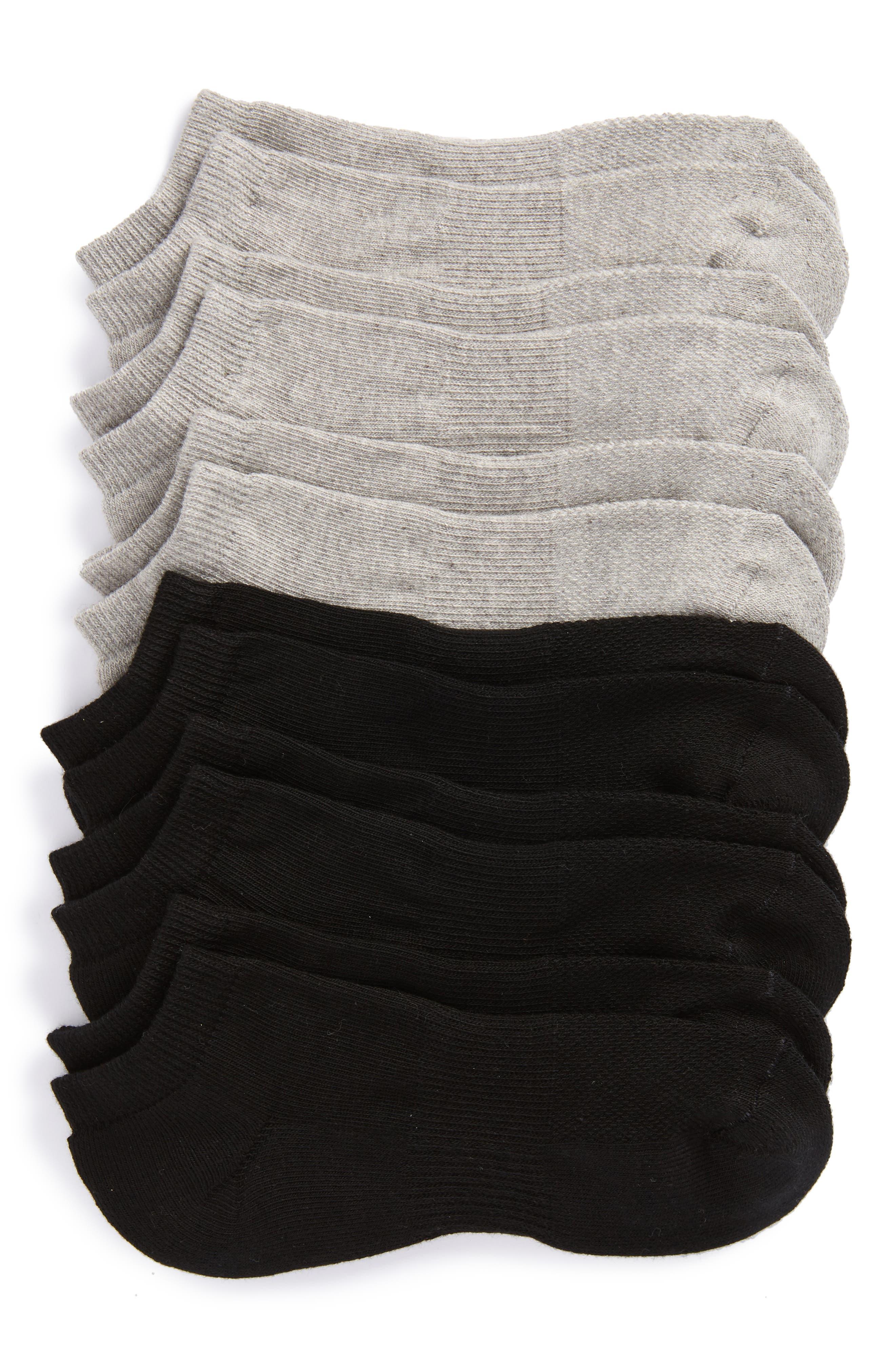 6-Pack Athletic No-Show Socks,                         Main,                         color, Black/ Grey