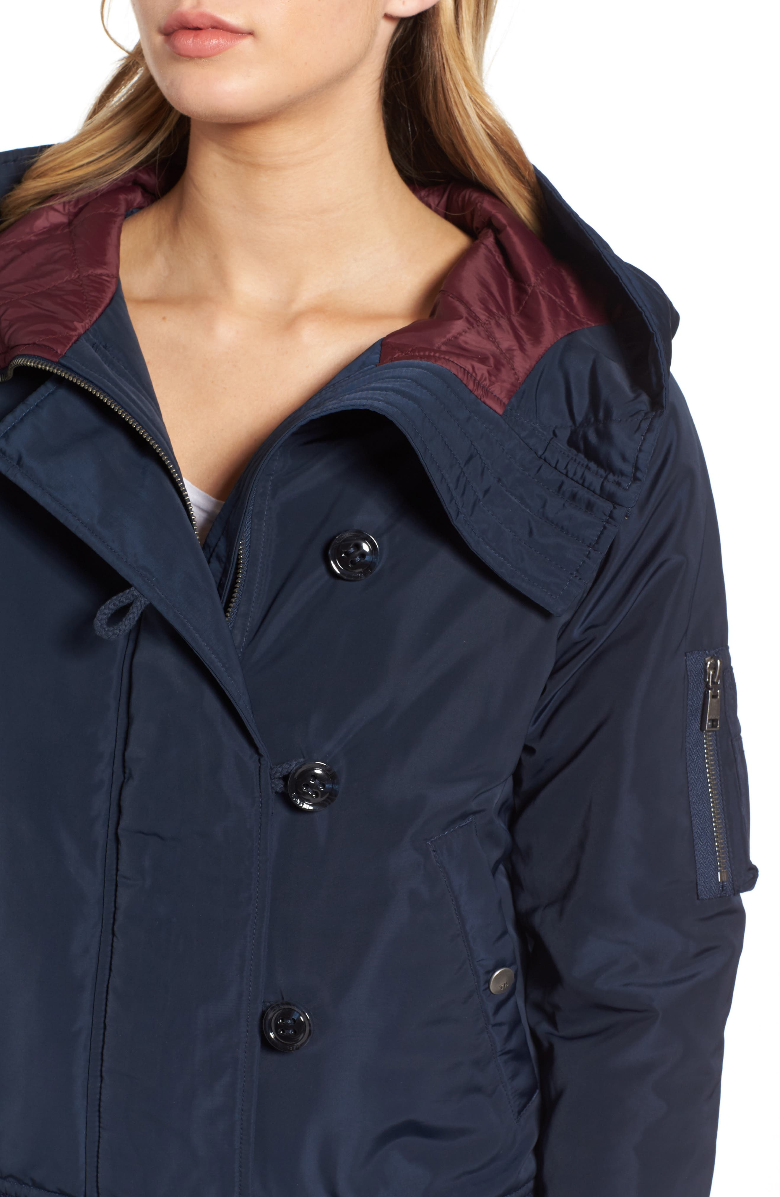 Hooded Windbreaker Jacket,                             Alternate thumbnail 4, color,                             Navy