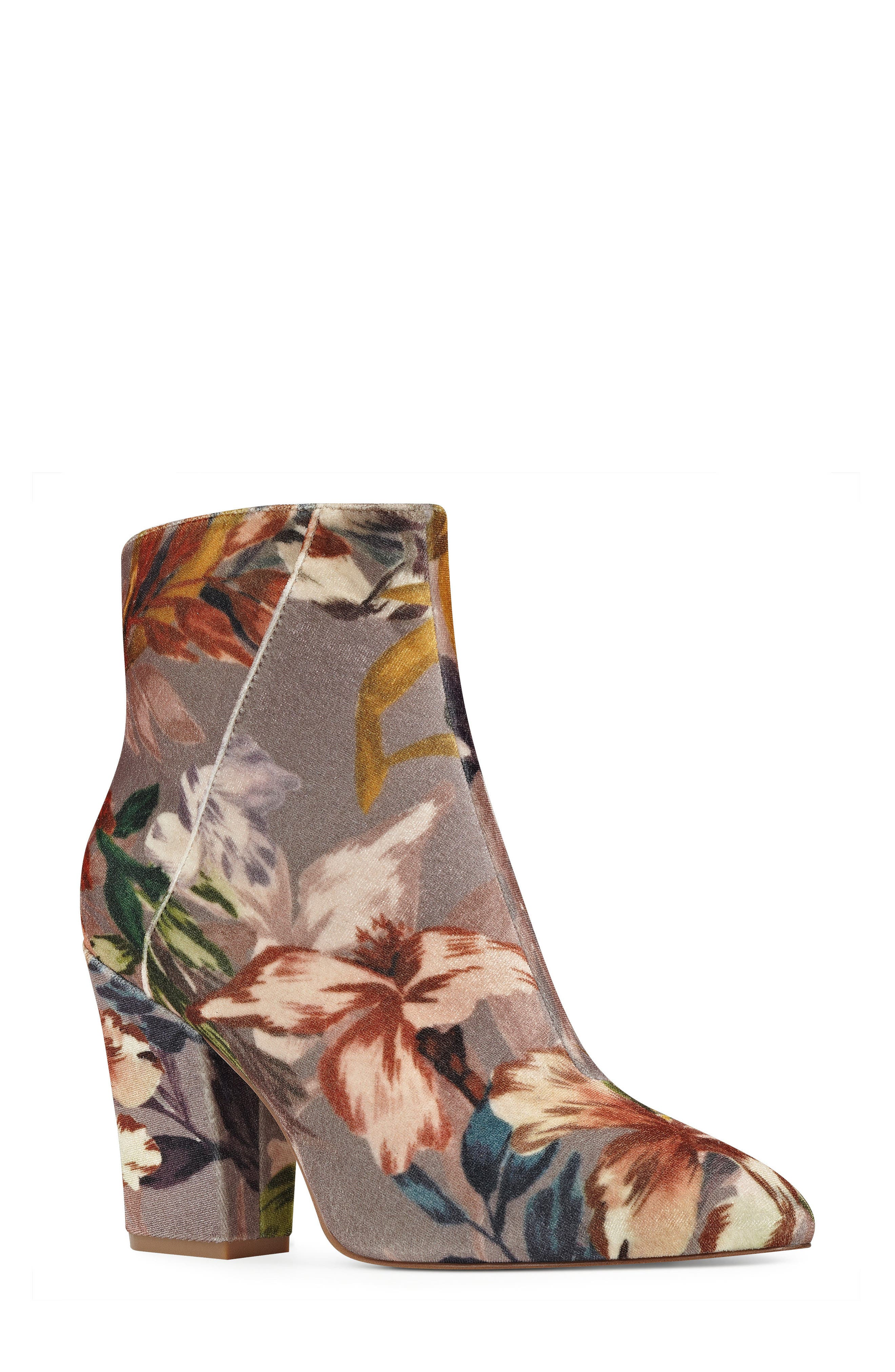 Savitra Pointy Toe Bootie,                             Main thumbnail 1, color,                             Taupe Multi Fabric