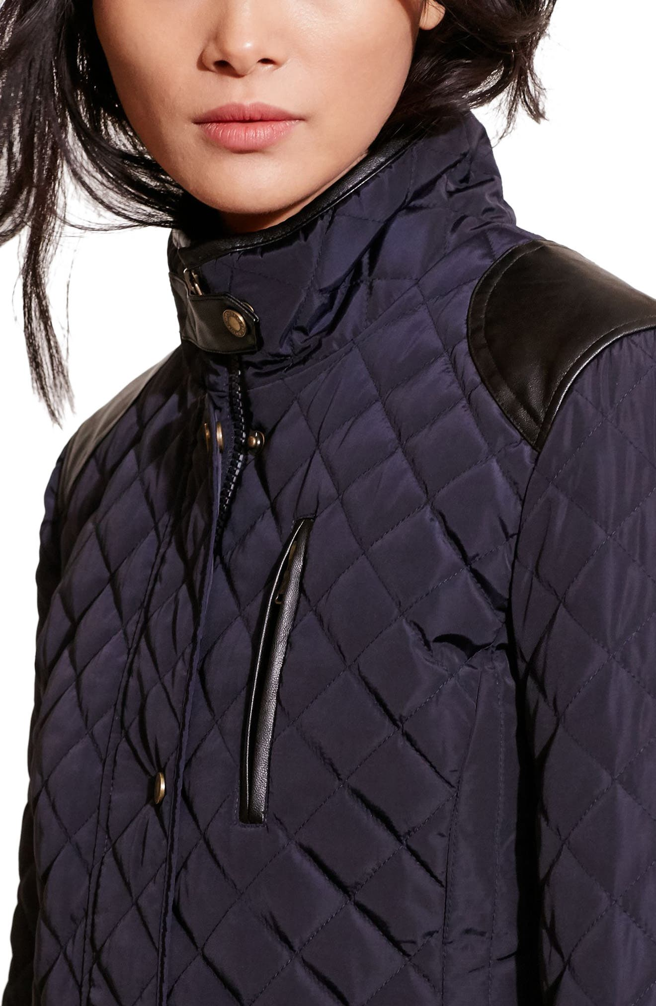 Diamond Quilted Jacket with Faux Leather Trim,                             Alternate thumbnail 5, color,                             Dark Navy