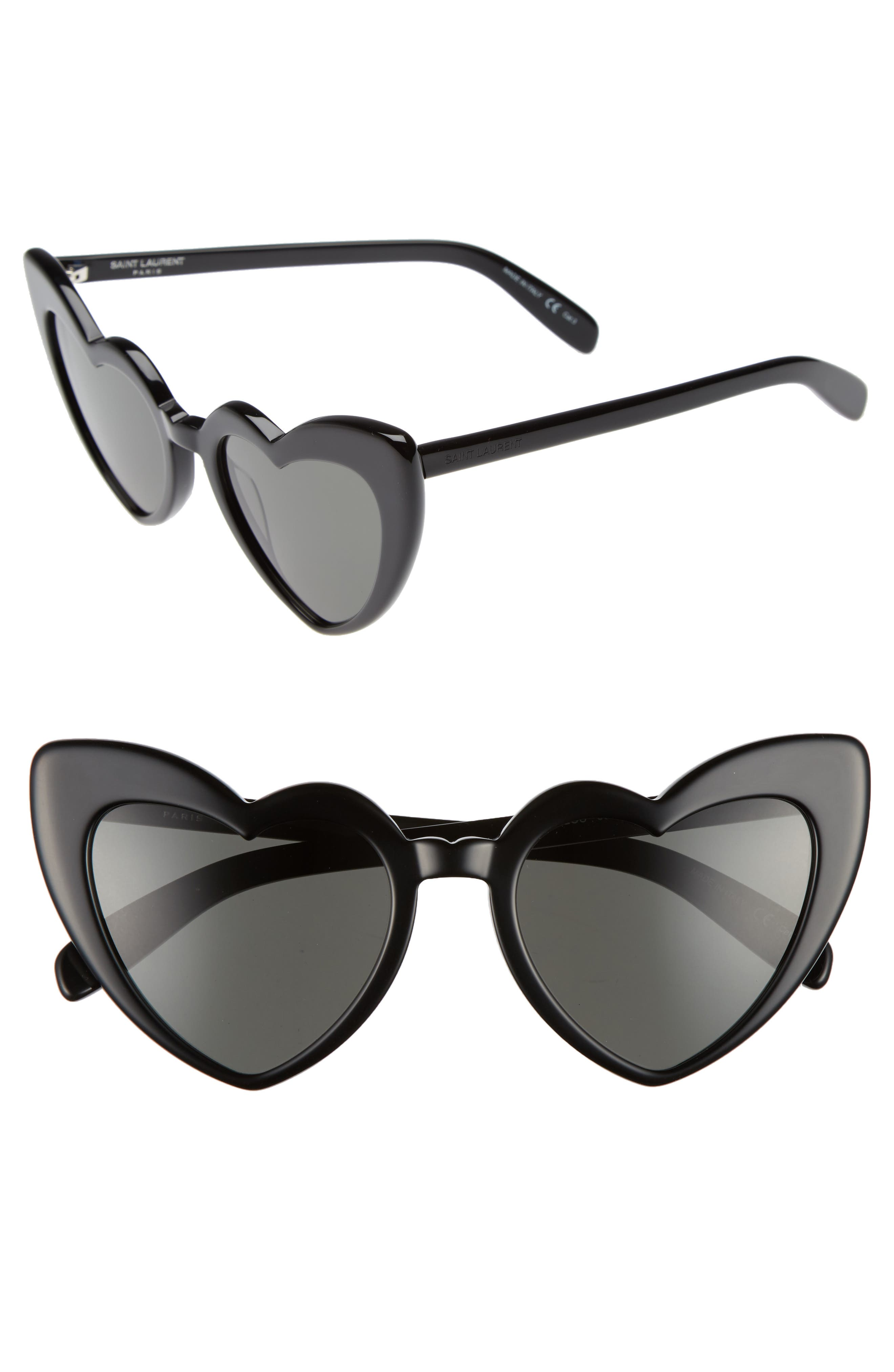 Loulou 54mm Heart Sunglasses,                         Main,                         color, Black/ Grey