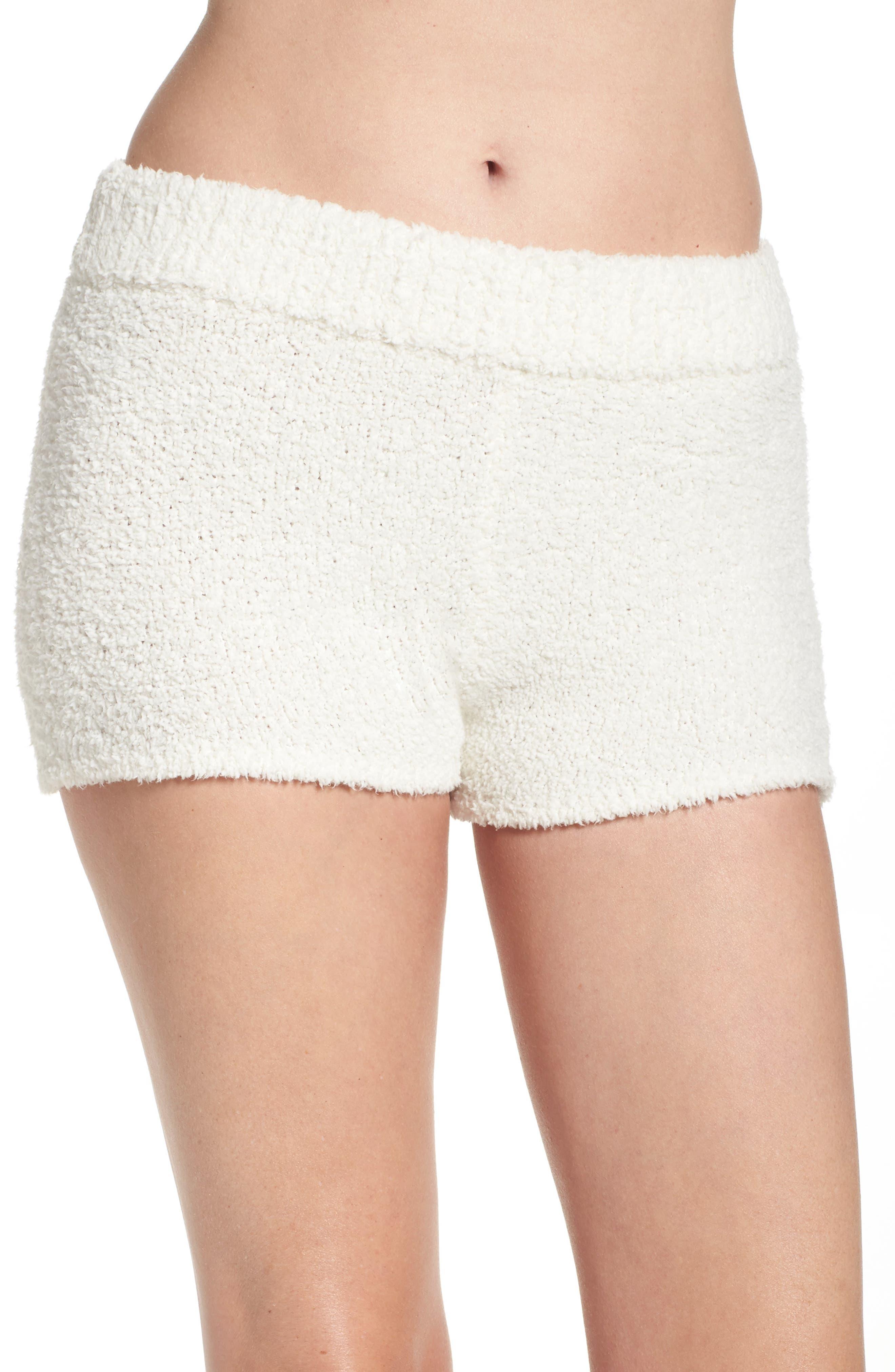 Sweater Knit Pajama Shorts,                             Main thumbnail 1, color,                             Cream