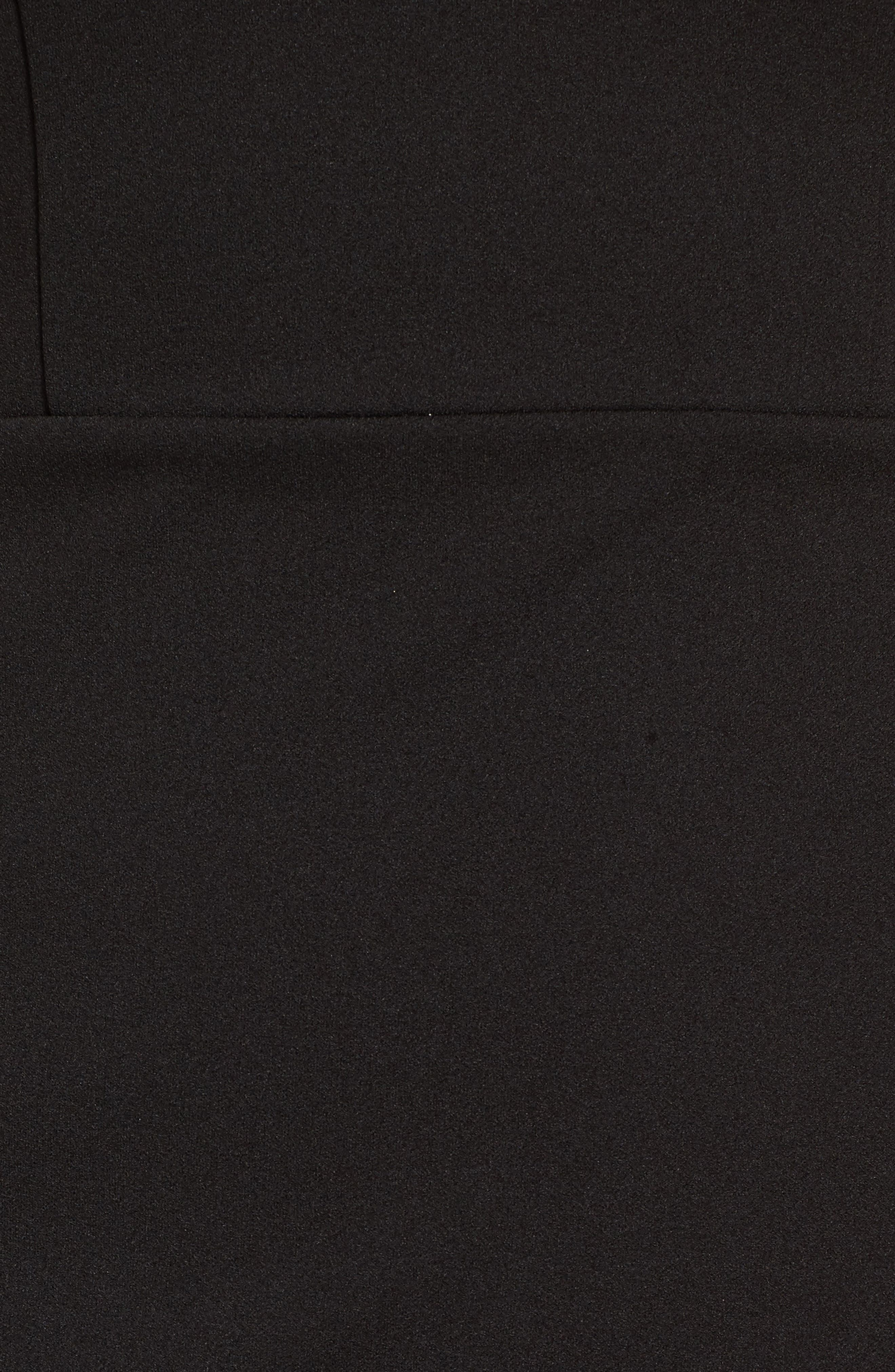 Ruffle Hem Dress,                             Alternate thumbnail 5, color,                             Black
