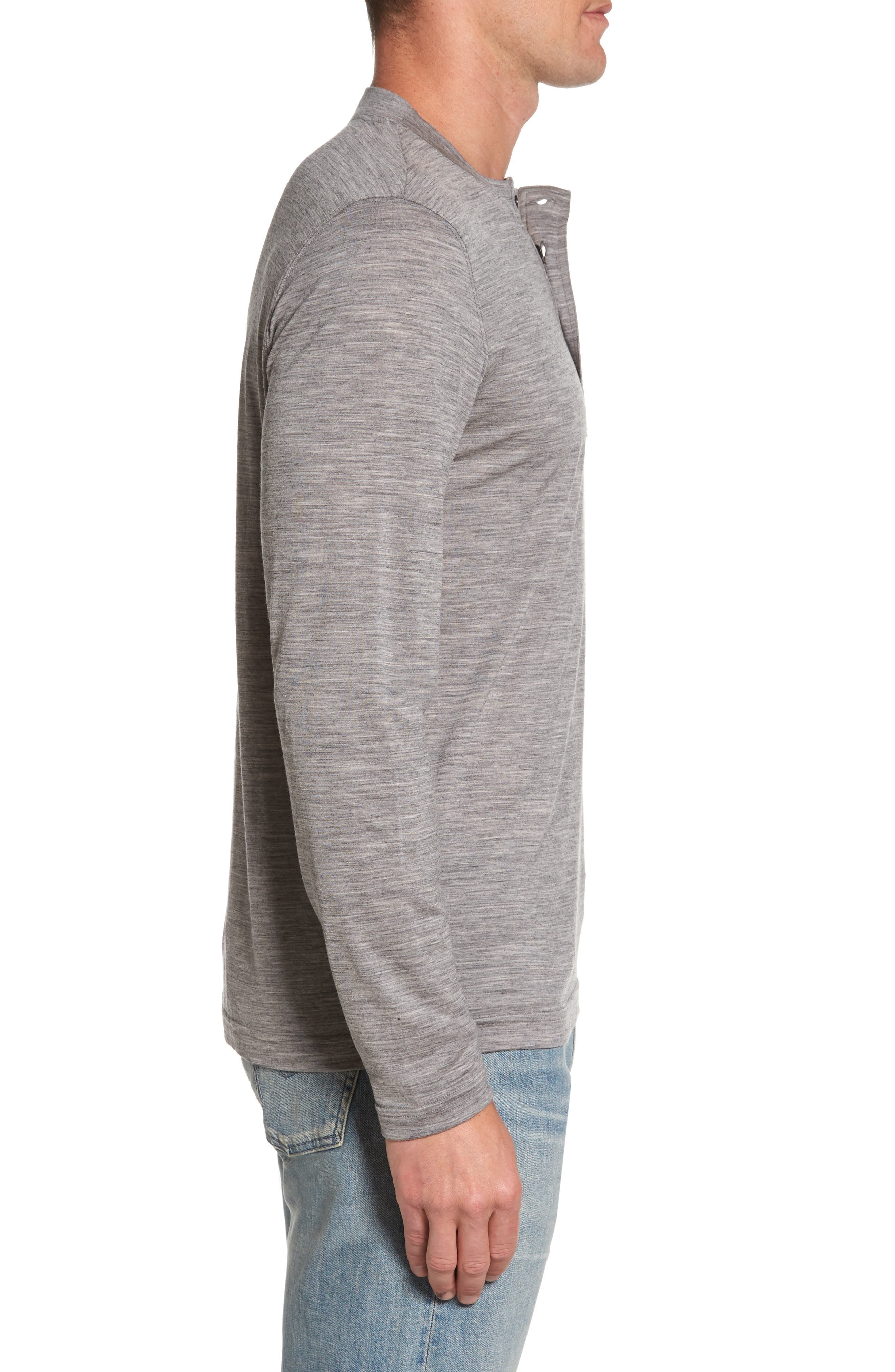 Odyssey Merino Wool Blend Henley,                             Alternate thumbnail 3, color,                             Stone Grey Heather