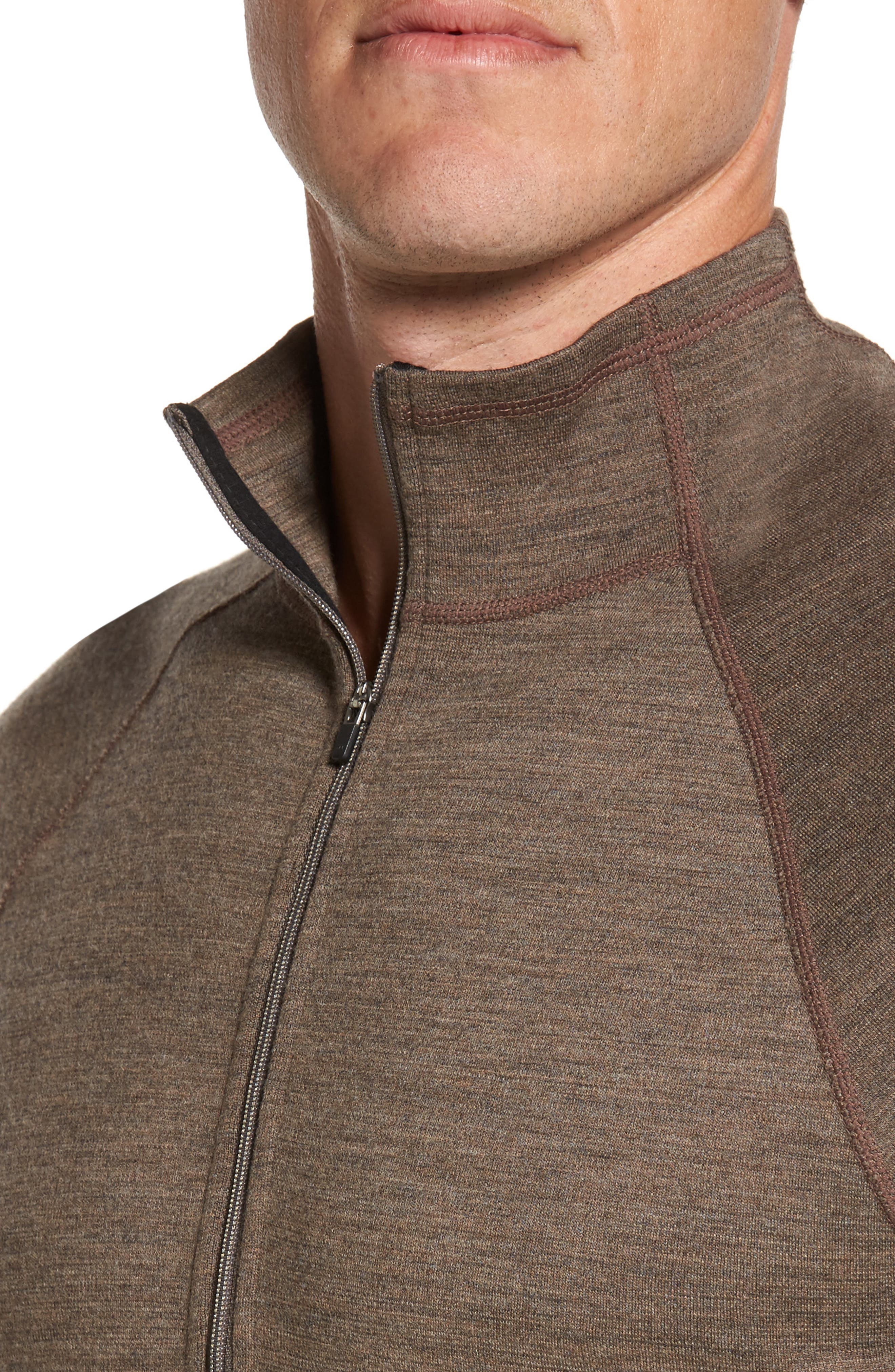'Shak' Merino Wool Quarter Zip Top,                             Alternate thumbnail 3, color,                             Dark Rye Heather