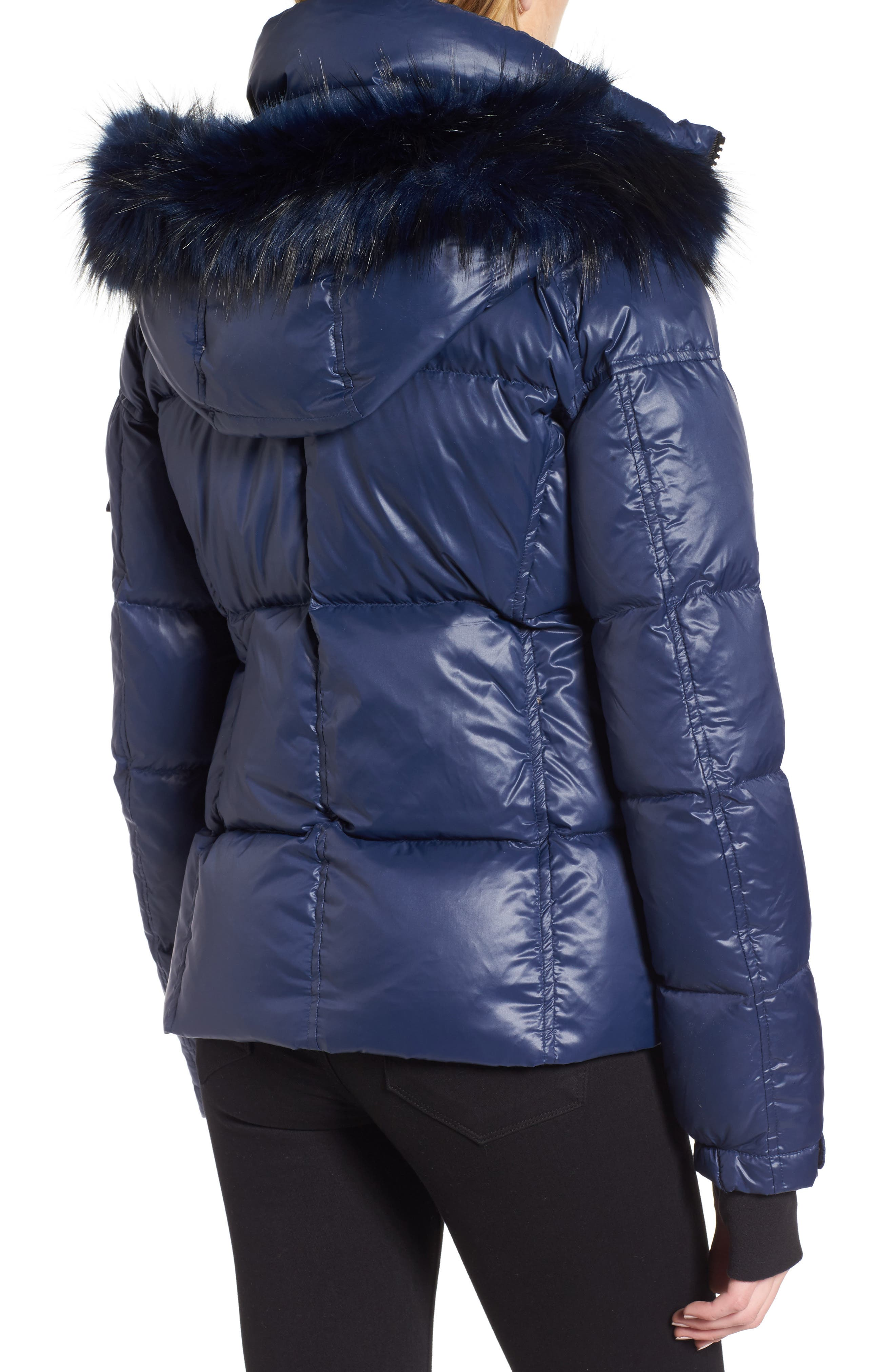 Kylie Faux Fur Trim Gloss Puffer Jacket,                             Alternate thumbnail 2, color,                             Night Blue/ Navy