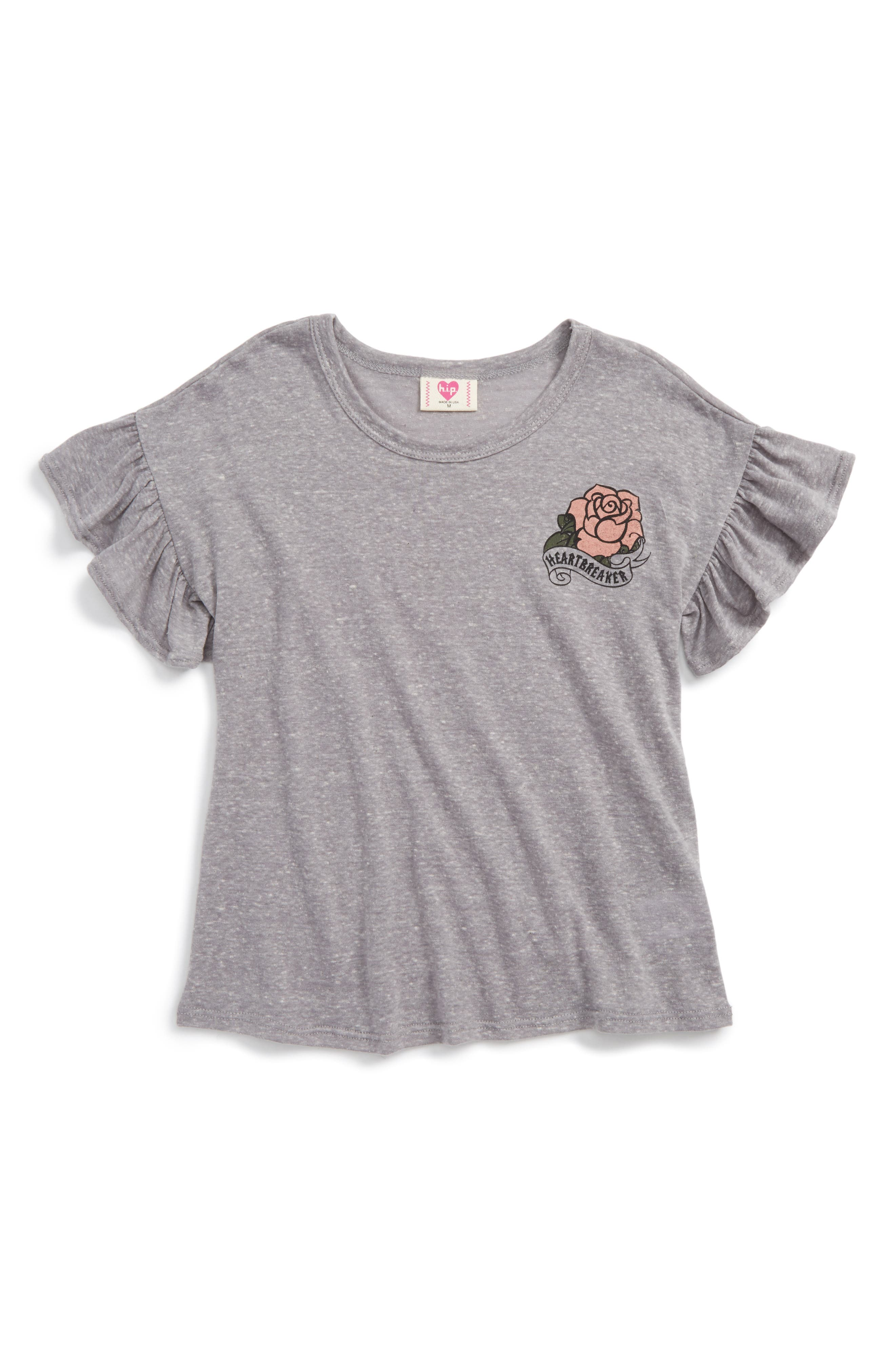 Main Image - h.i.p. Rose Graphic Flutter Sleeve Tee (Big Girls)