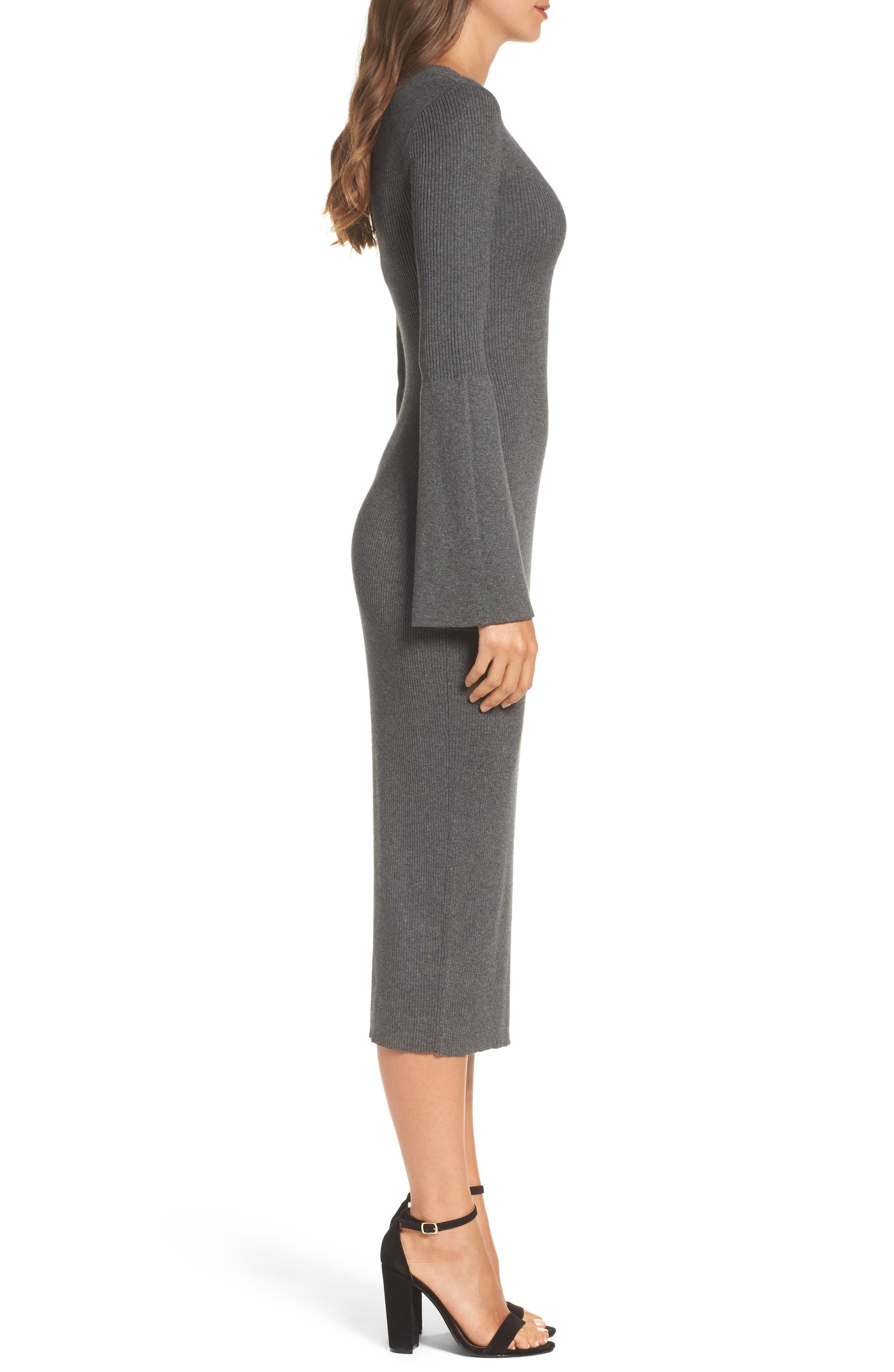 Virgie Knits Midi Dress,                             Alternate thumbnail 3, color,                             Charcoal