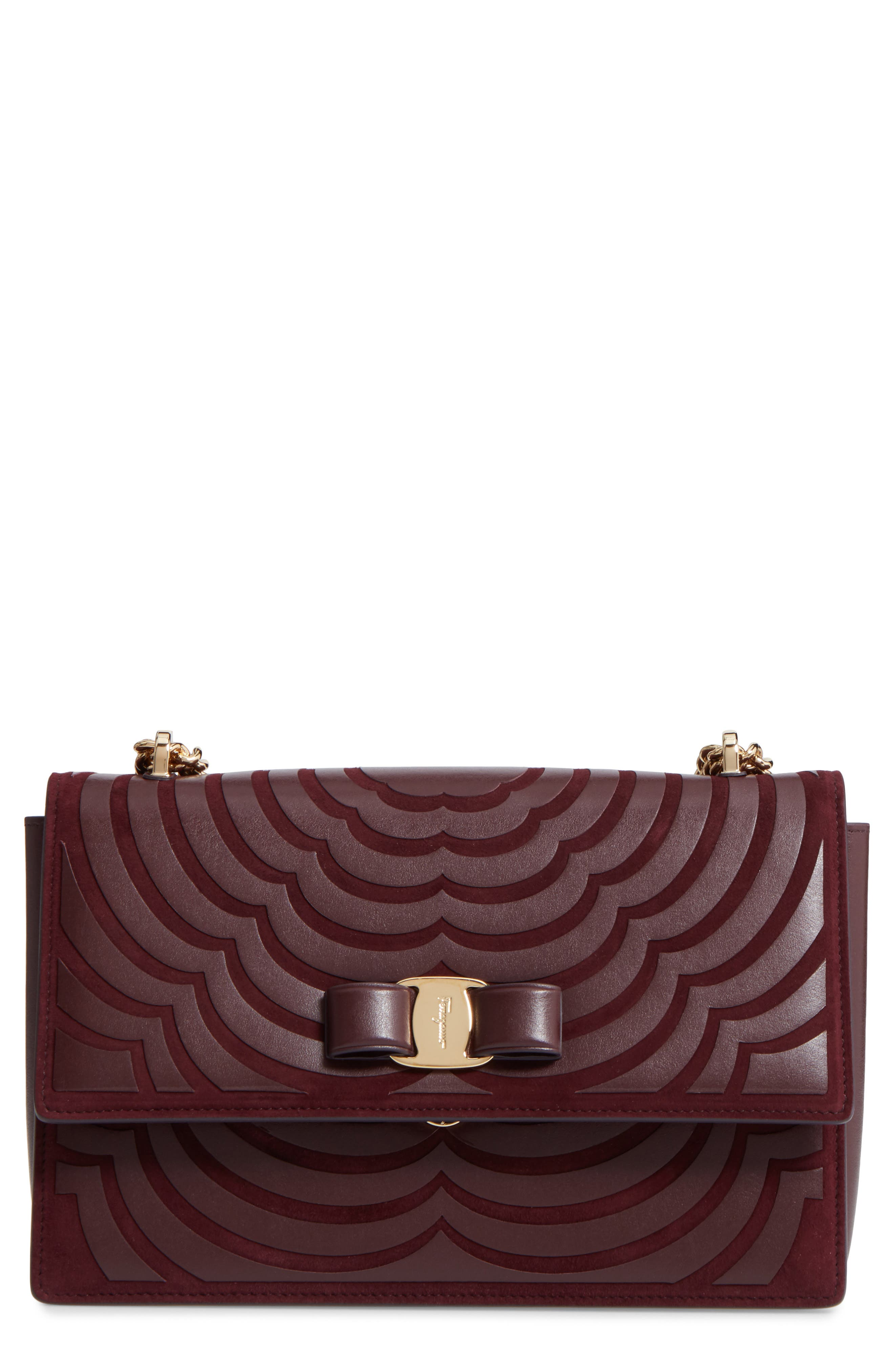 Salvatore Ferragamo Medium Ginny Floral Leather Shoulder Bag