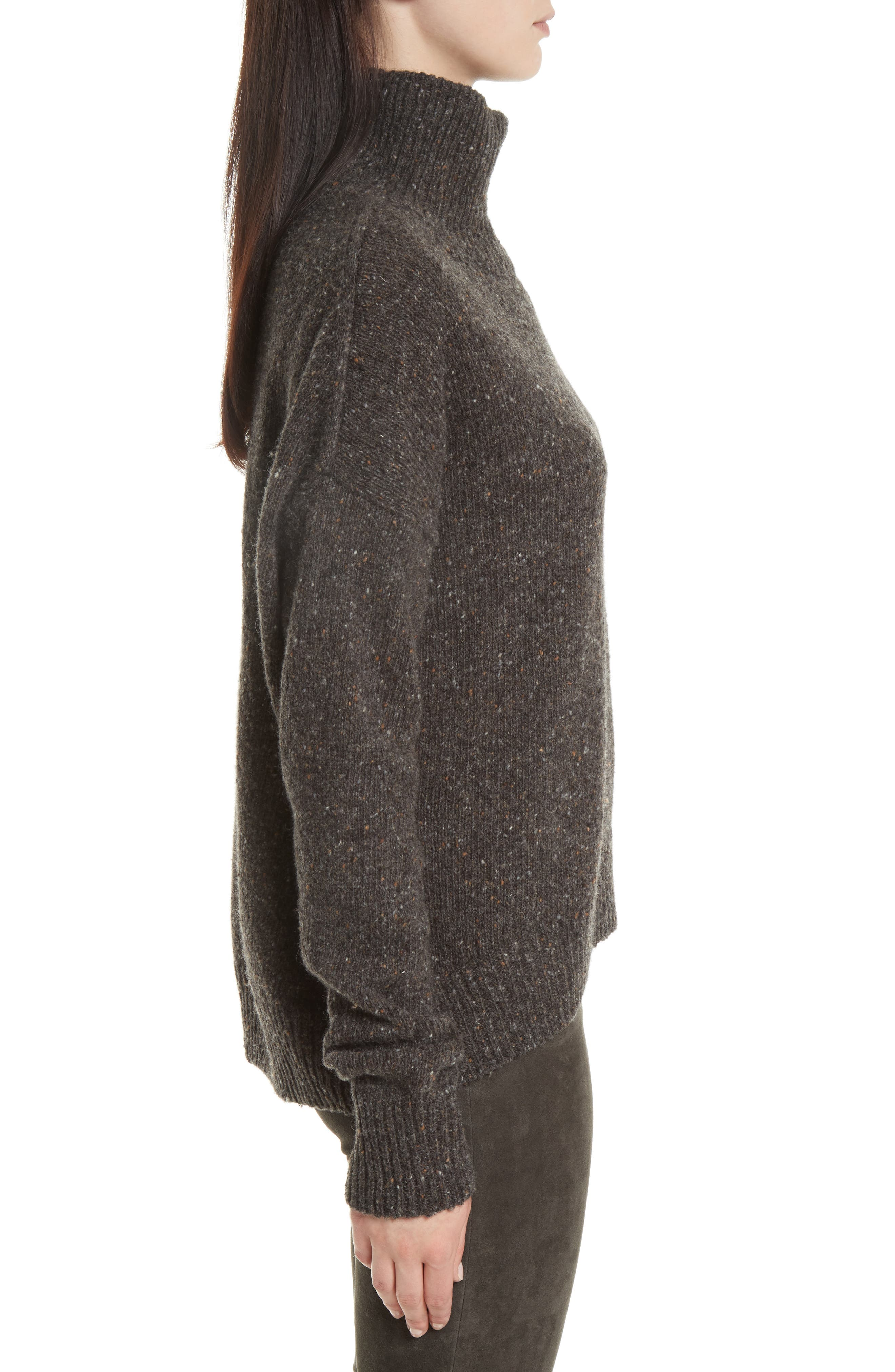 Cashmere Turtleneck Sweater,                             Alternate thumbnail 3, color,                             Charcoal