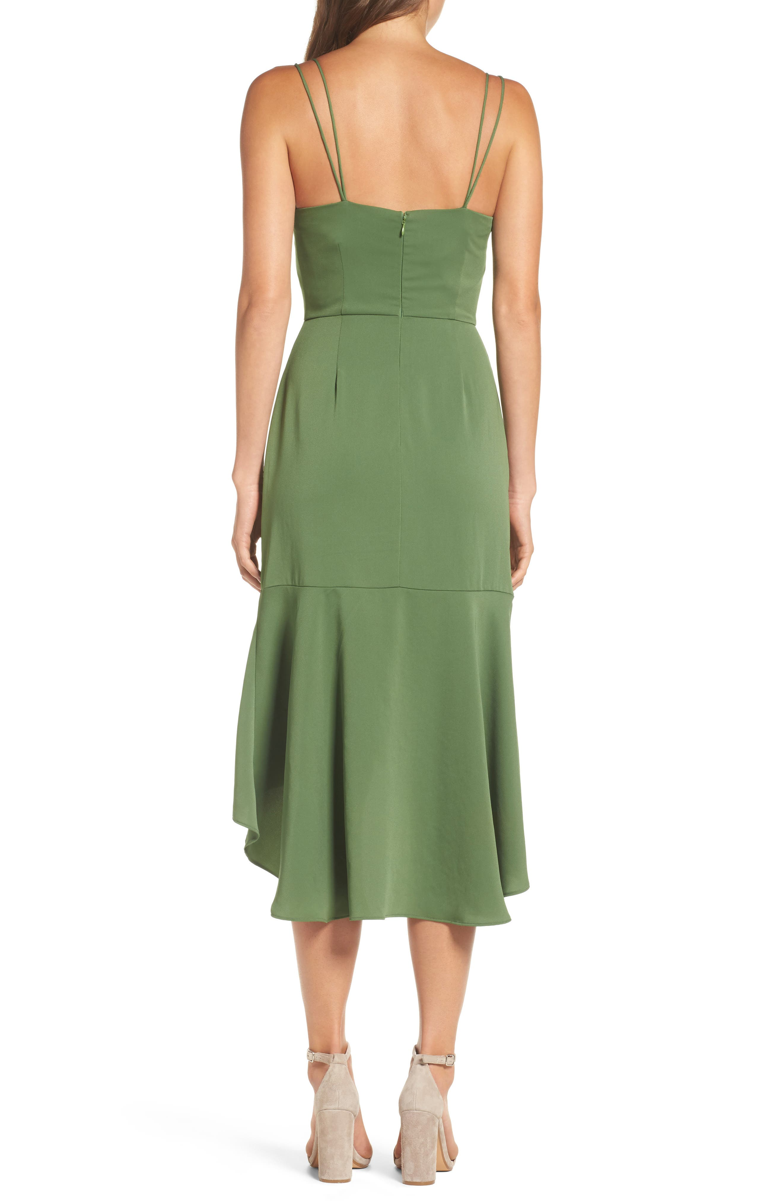 Lovine Midi Dress,                             Alternate thumbnail 2, color,                             Moss Green