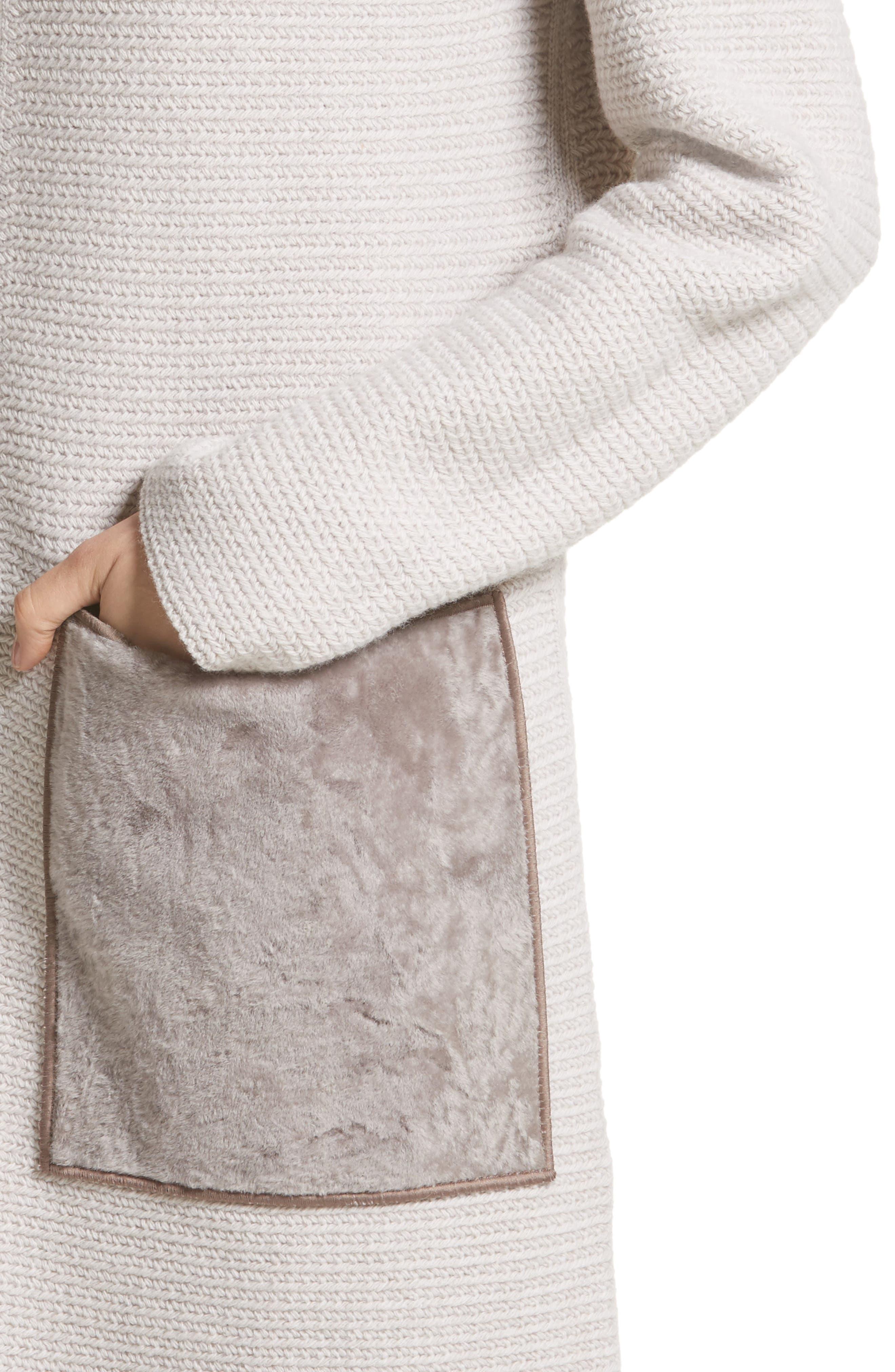 Alternate Image 4  - Lafayette 148 New York Wool & Cashmere Herringbone Stitch Cardigan with Genuine Shearling Pockets