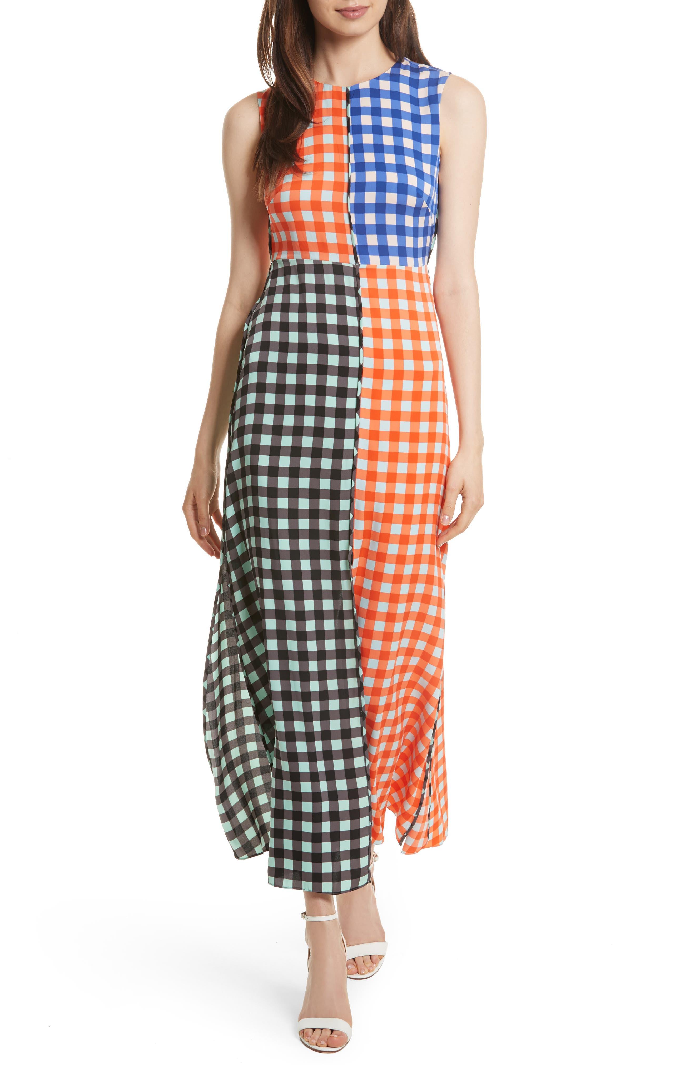 DIANE VON FURSTENBERG Print Block Stretch Silk Maxi Dress