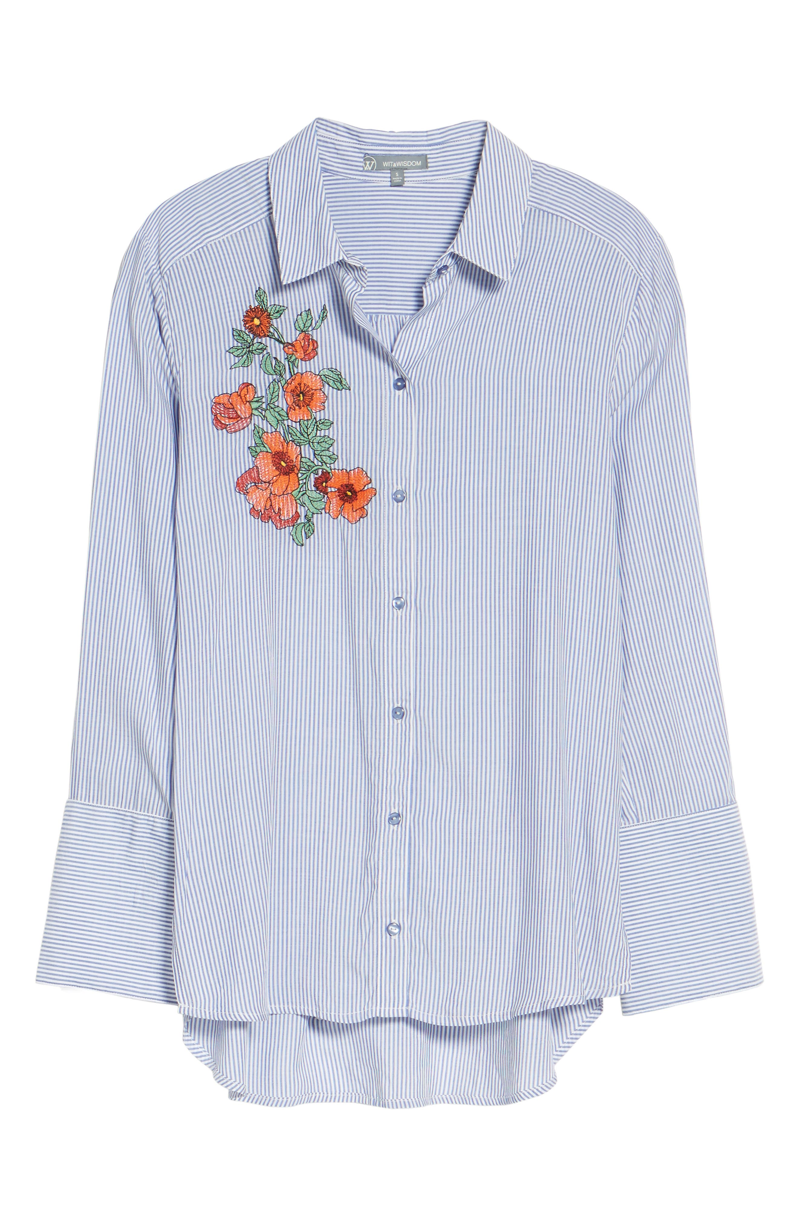 Alternate Image 6  - Wit & Wisdom Wide Cuff Embroidered Button Down (Nordstrom Exclusive)