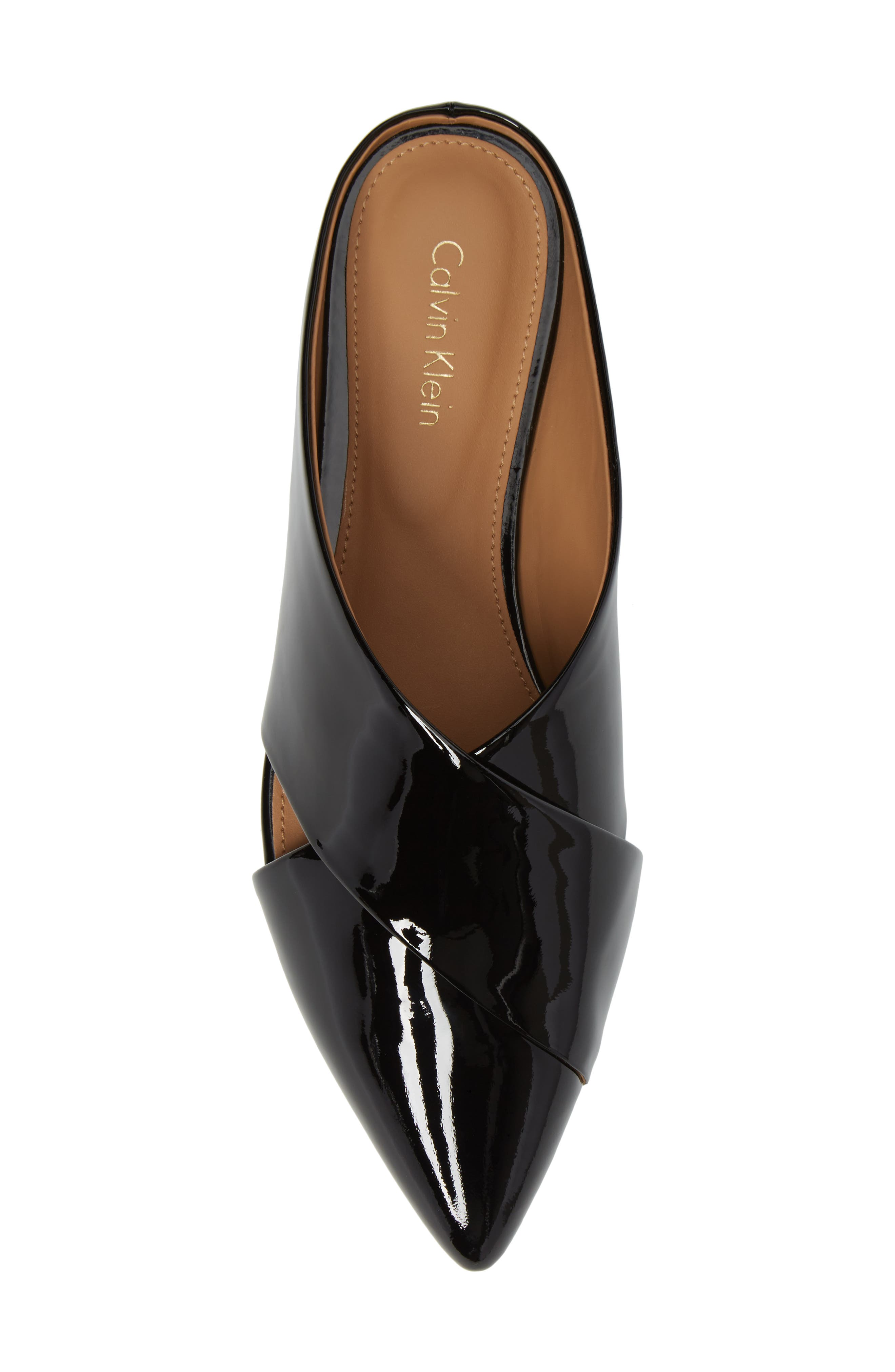 Gerda Cross Strap Mule,                             Alternate thumbnail 5, color,                             Black Patent