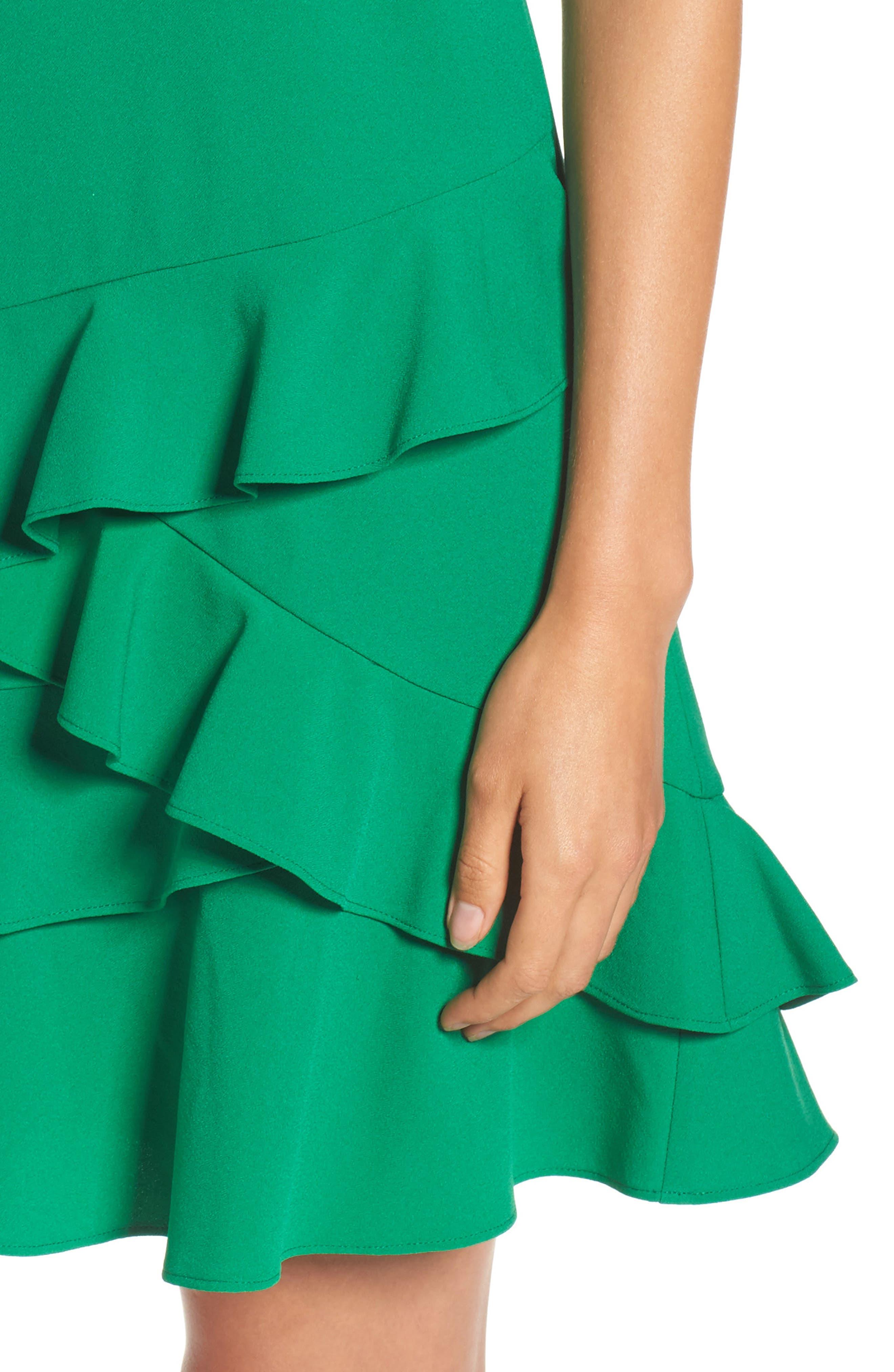 Ruffle Hem Shift Dress,                             Alternate thumbnail 4, color,                             Green