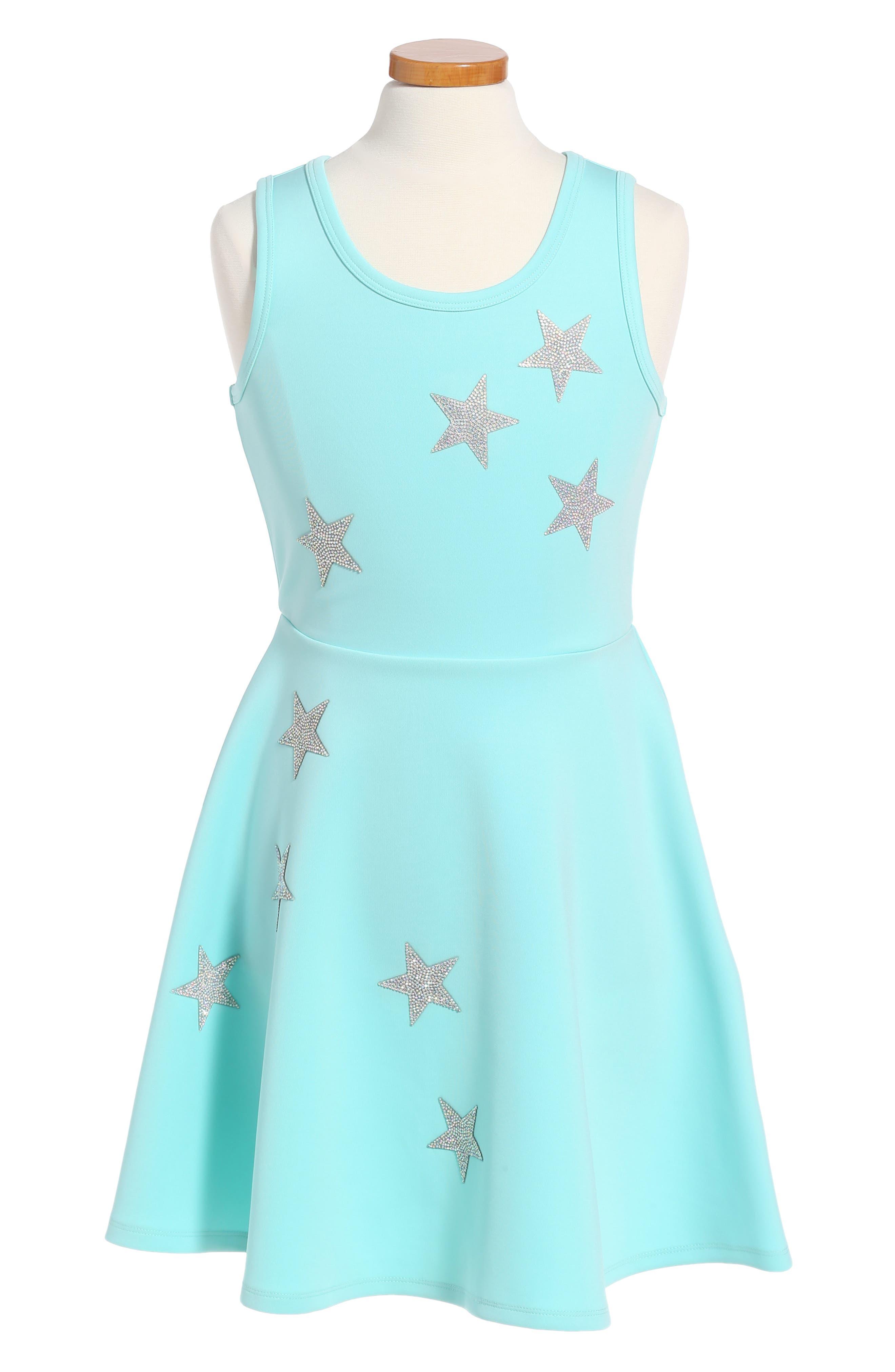 Star Appliqué Skater Dress,                         Main,                         color, Aqua