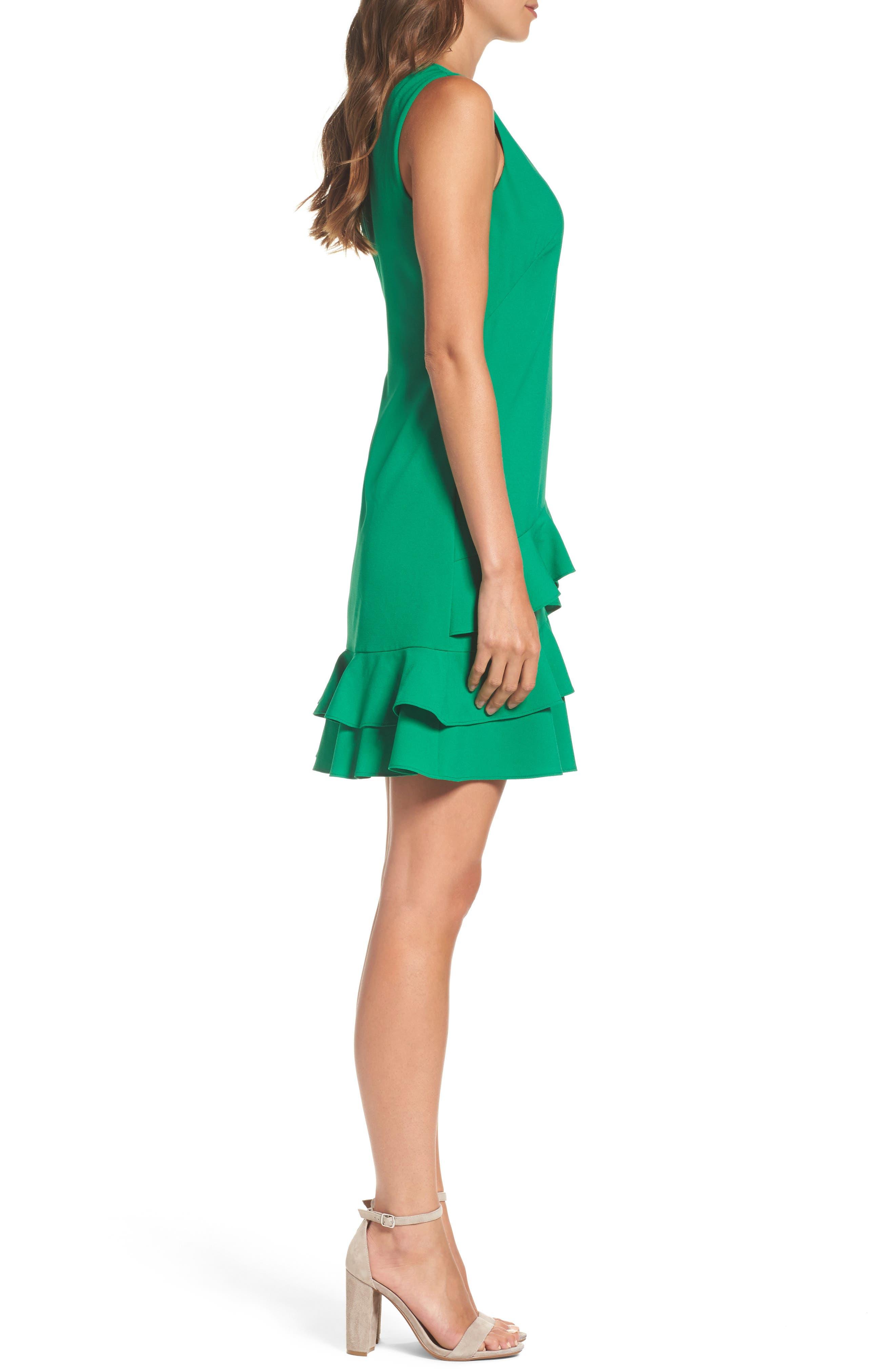 Ruffle Hem Shift Dress,                             Alternate thumbnail 3, color,                             Green