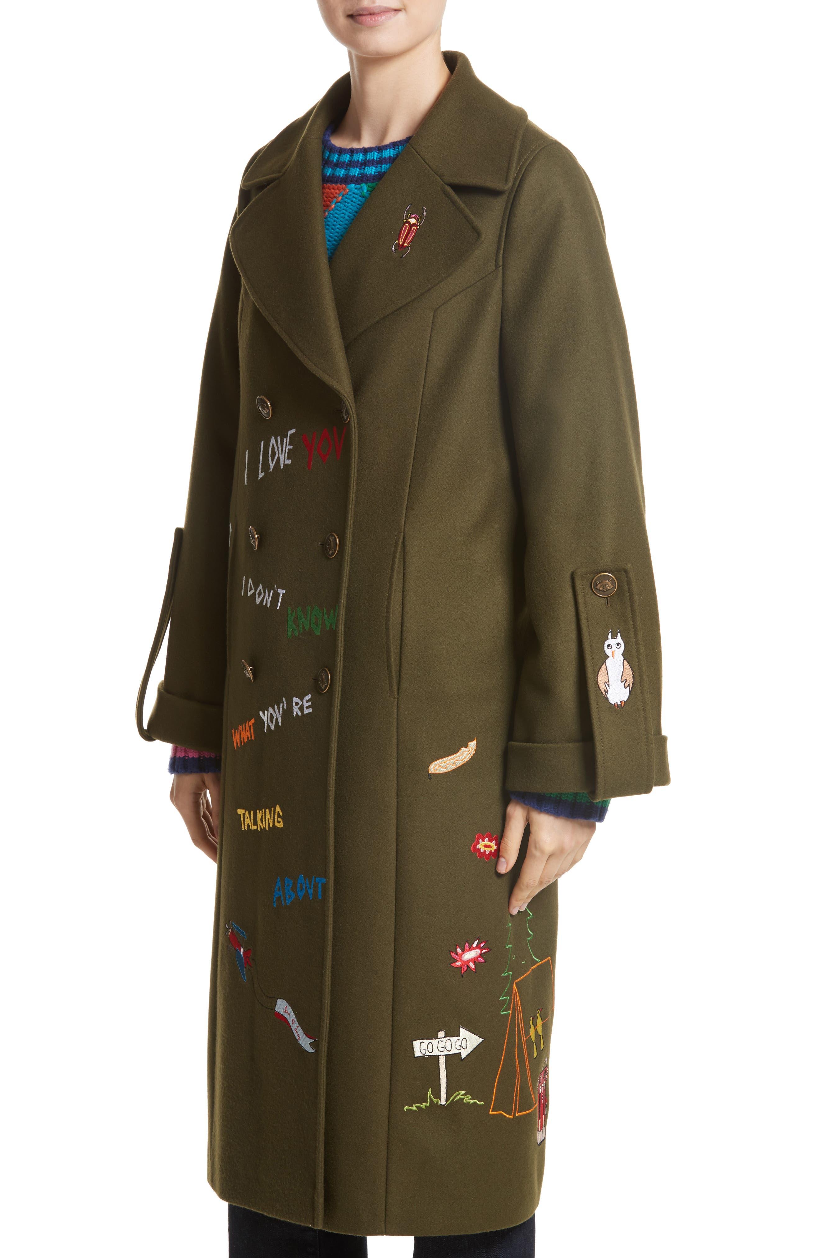 Adventure Embroidered Coat,                             Alternate thumbnail 4, color,                             Khaki