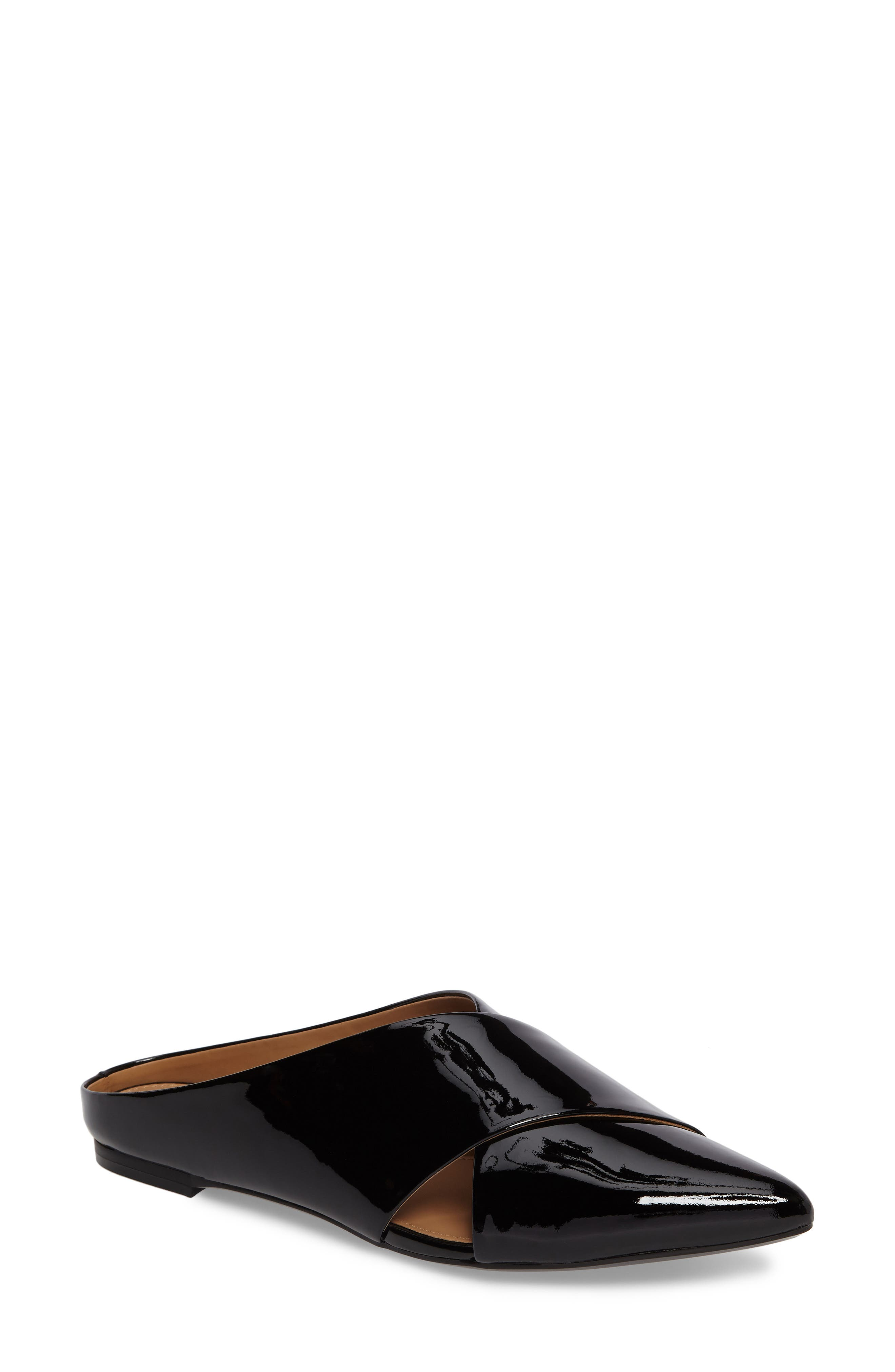 Gerda Cross Strap Mule,                             Main thumbnail 1, color,                             Black Patent