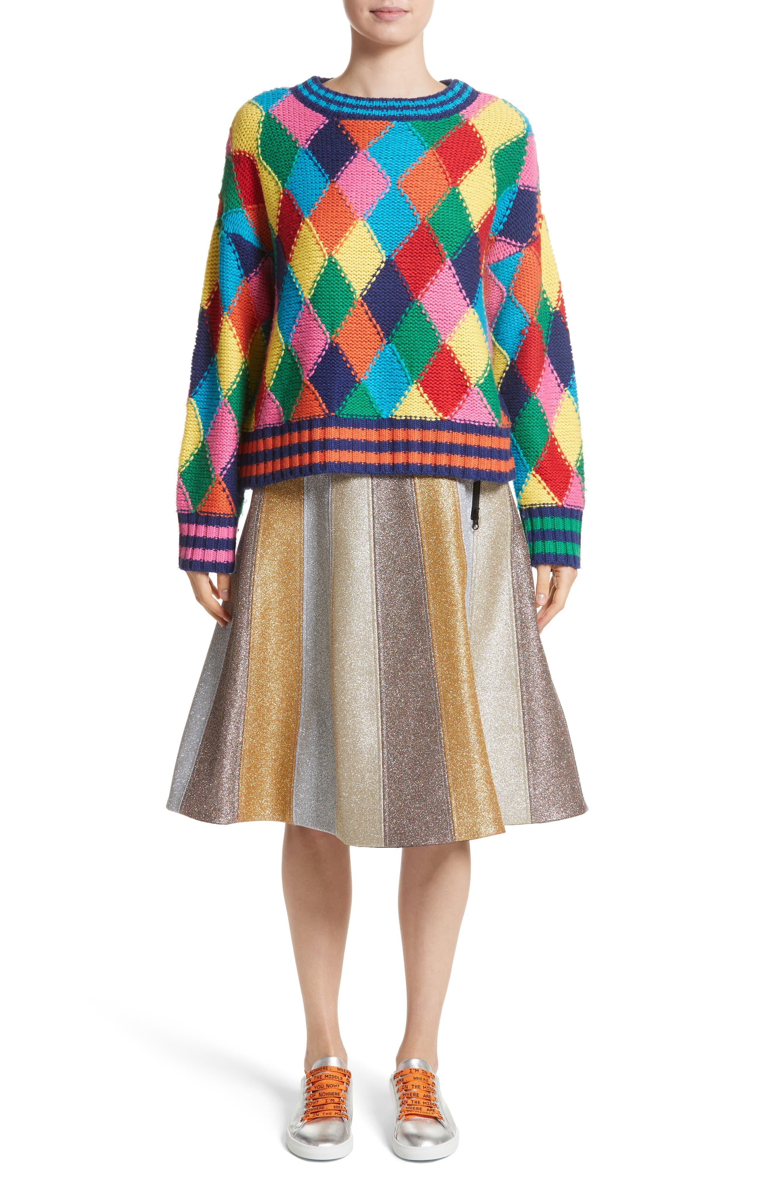 Glitter Panel A-Line Skirt,                             Alternate thumbnail 5, color,                             Multi