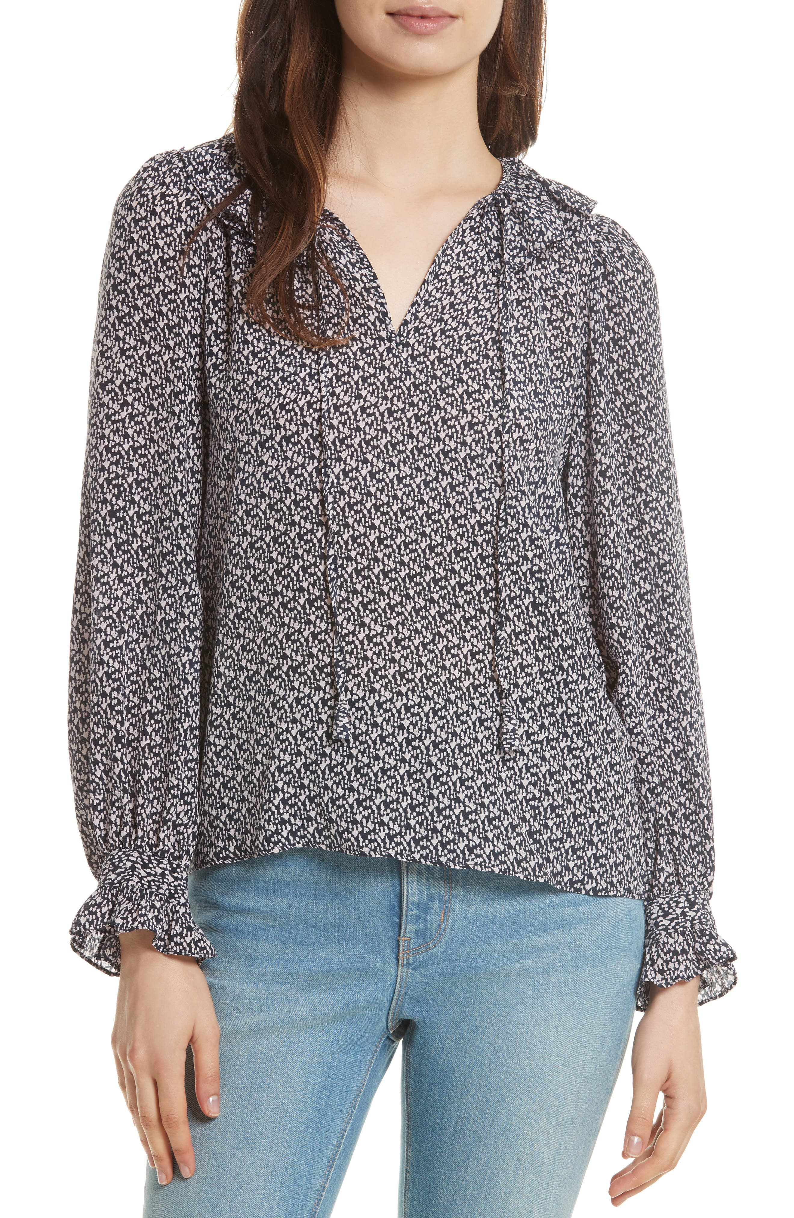 Alternate Image 1 Selected - Rebecca Taylor Static Print Blouse