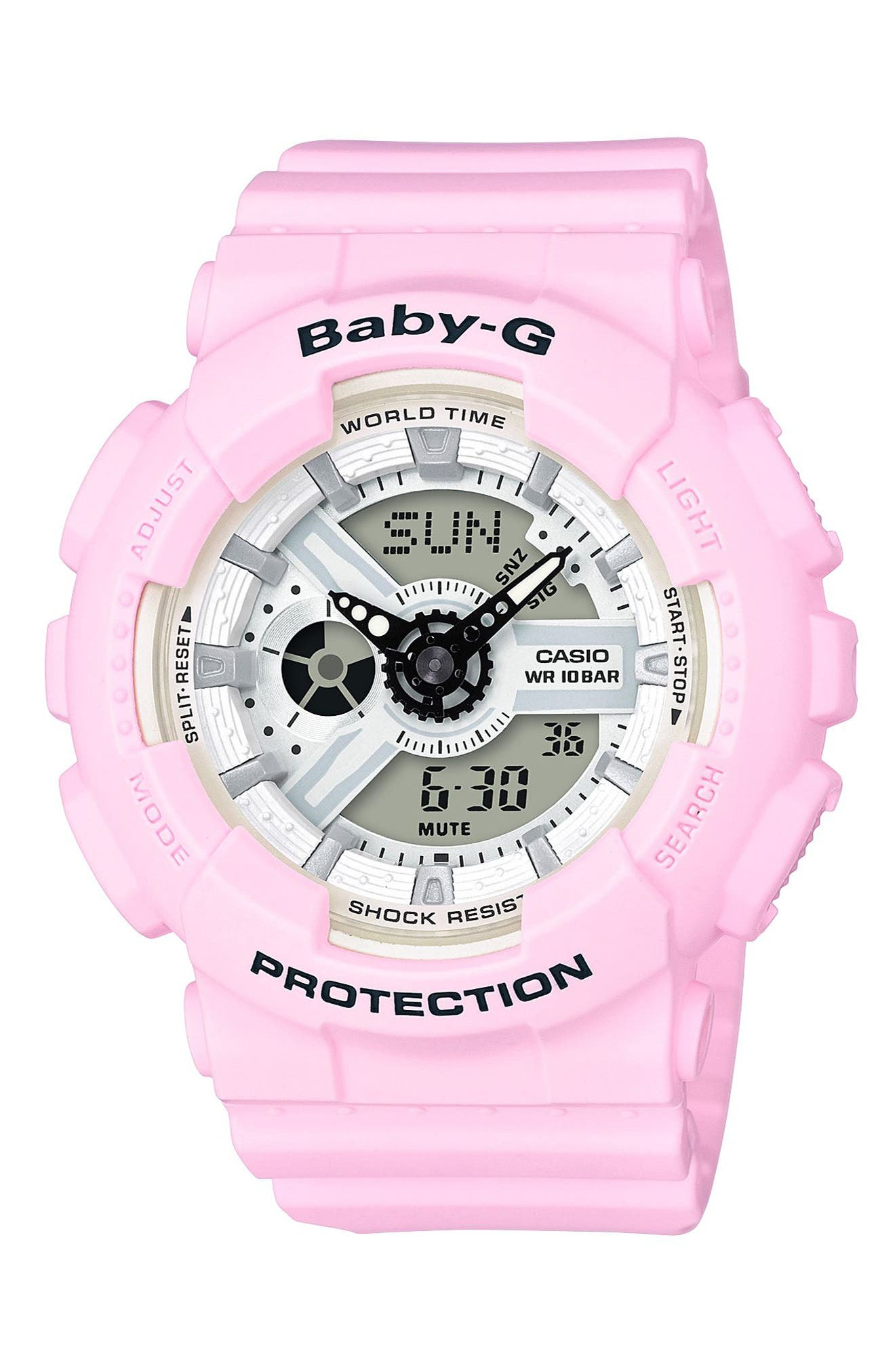Ana-Digi Watch, 40mm,                             Main thumbnail 1, color,                             Pink/ White/ Pink