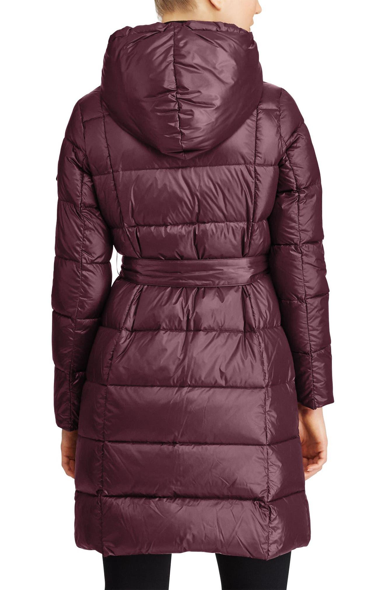 Packable Belted Down Jacket,                             Alternate thumbnail 3, color,                             Burgundy/ Aubergine