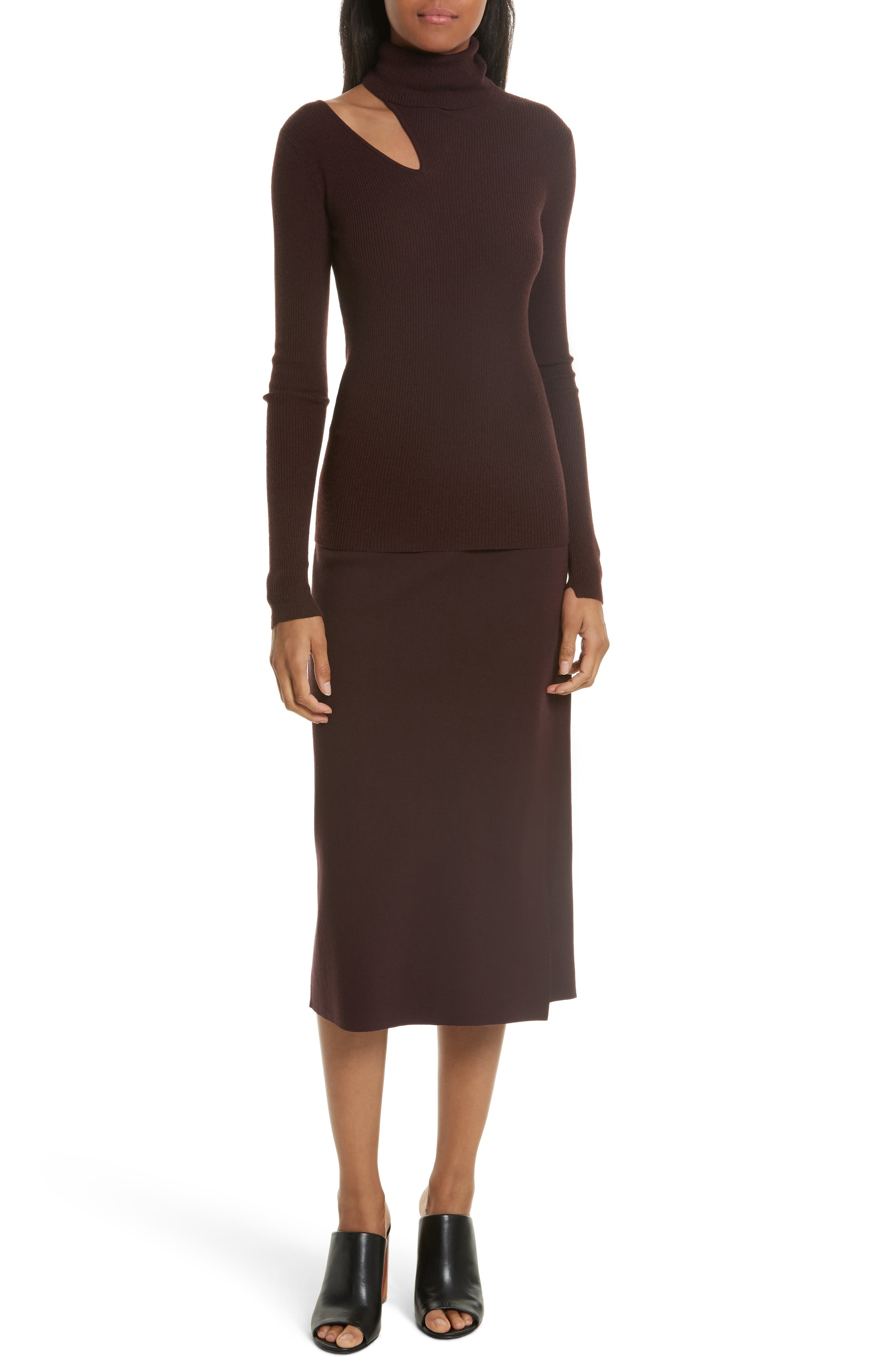 Smith Knit Pencil Skirt,                             Alternate thumbnail 2, color,                             Raisin
