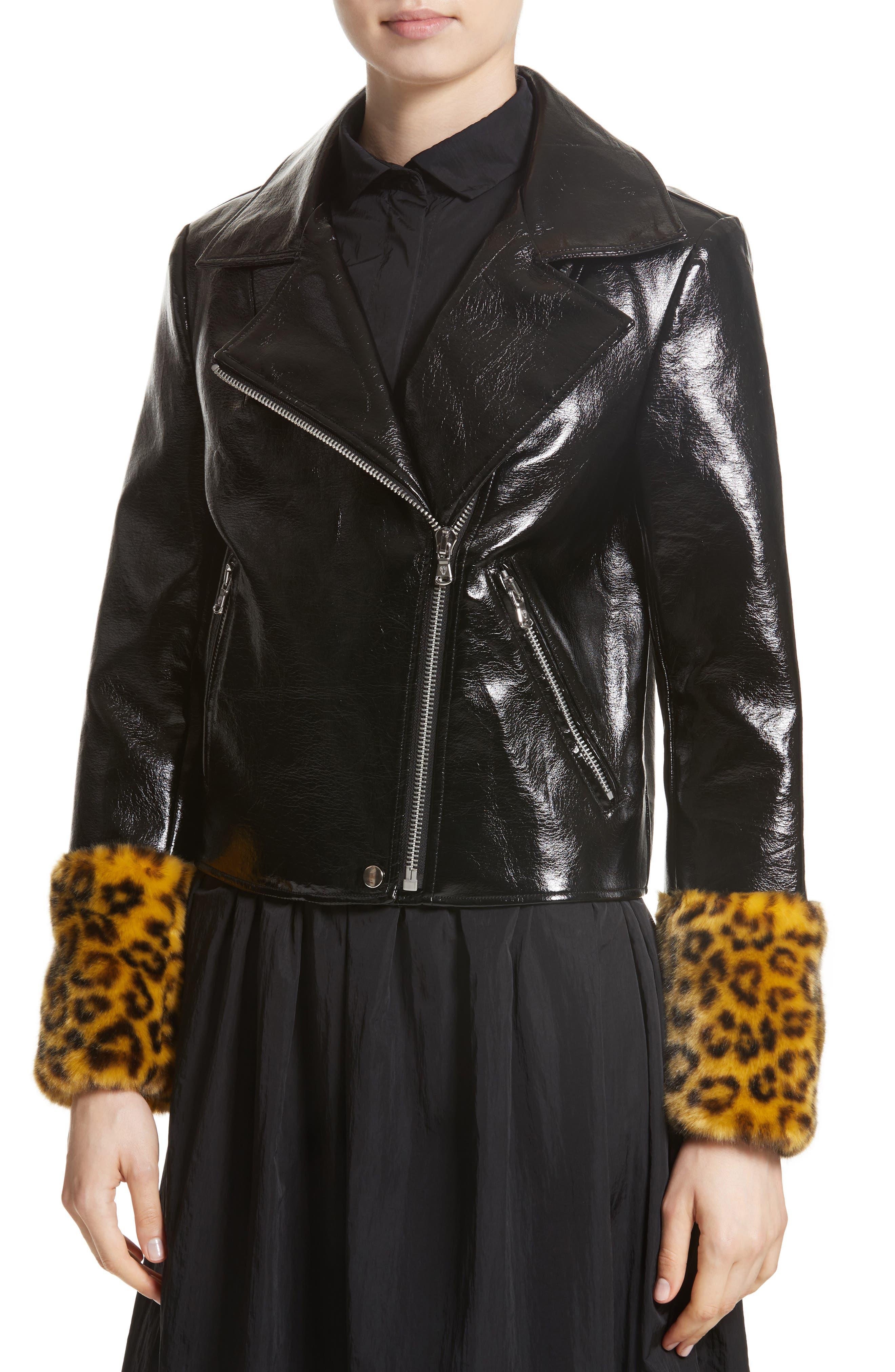 Maisie Faux Leather Biker Jacket with Faux Fur Trim,                             Alternate thumbnail 4, color,                             Black