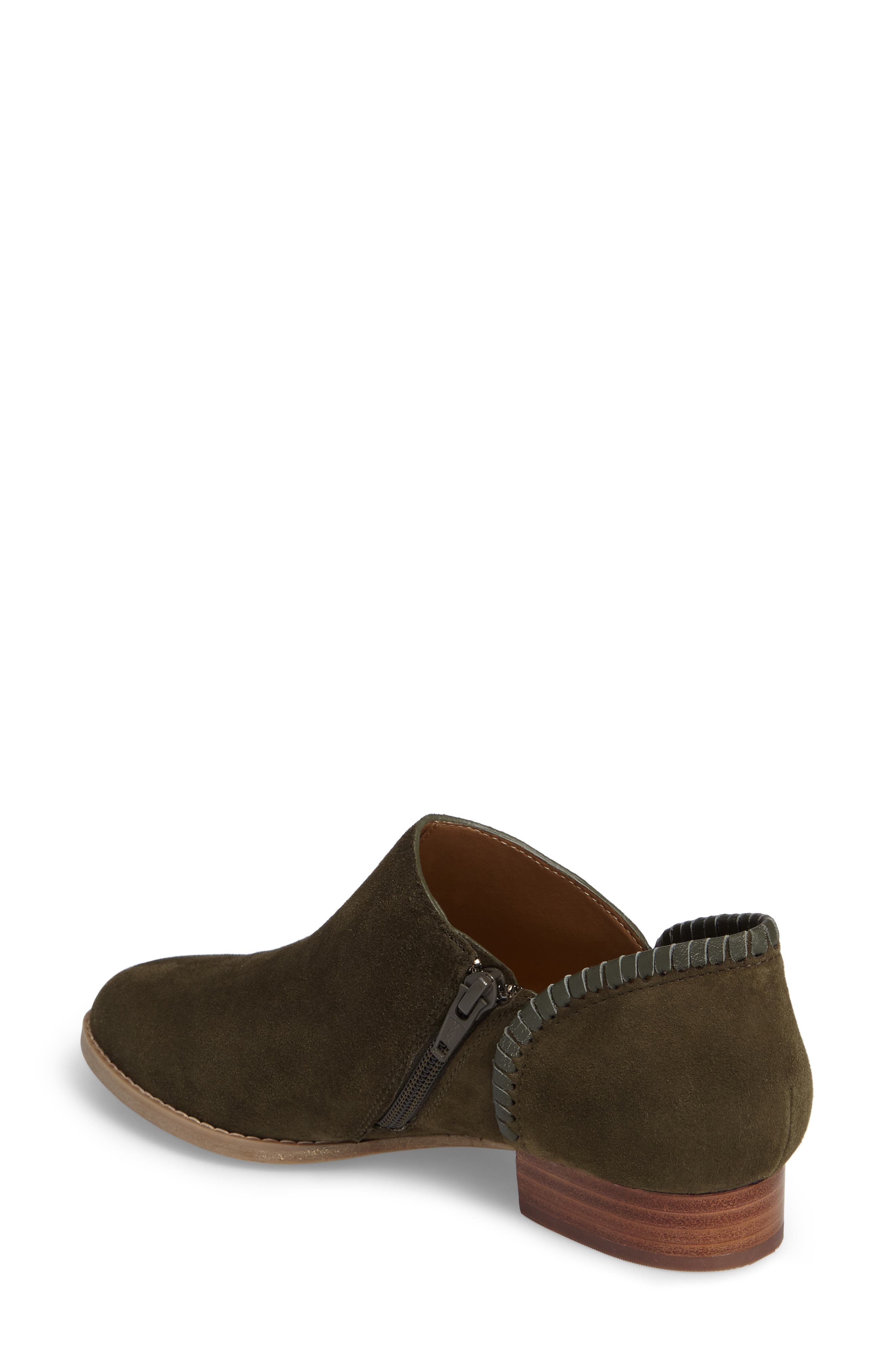 Avery Low Bootie,                             Alternate thumbnail 2, color,                             Olive Suede