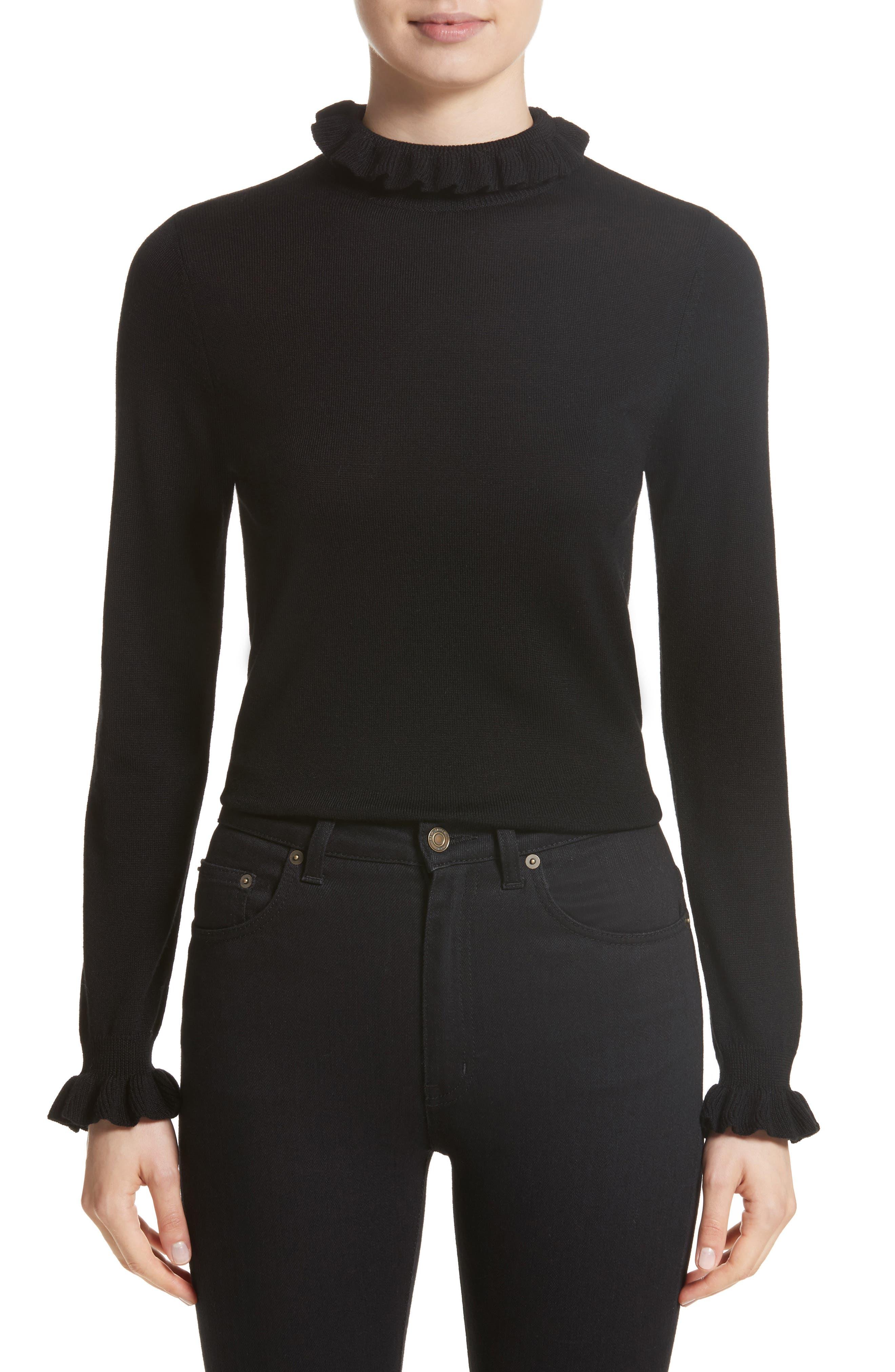 Robin Frill Wool Sweater,                         Main,                         color, Black