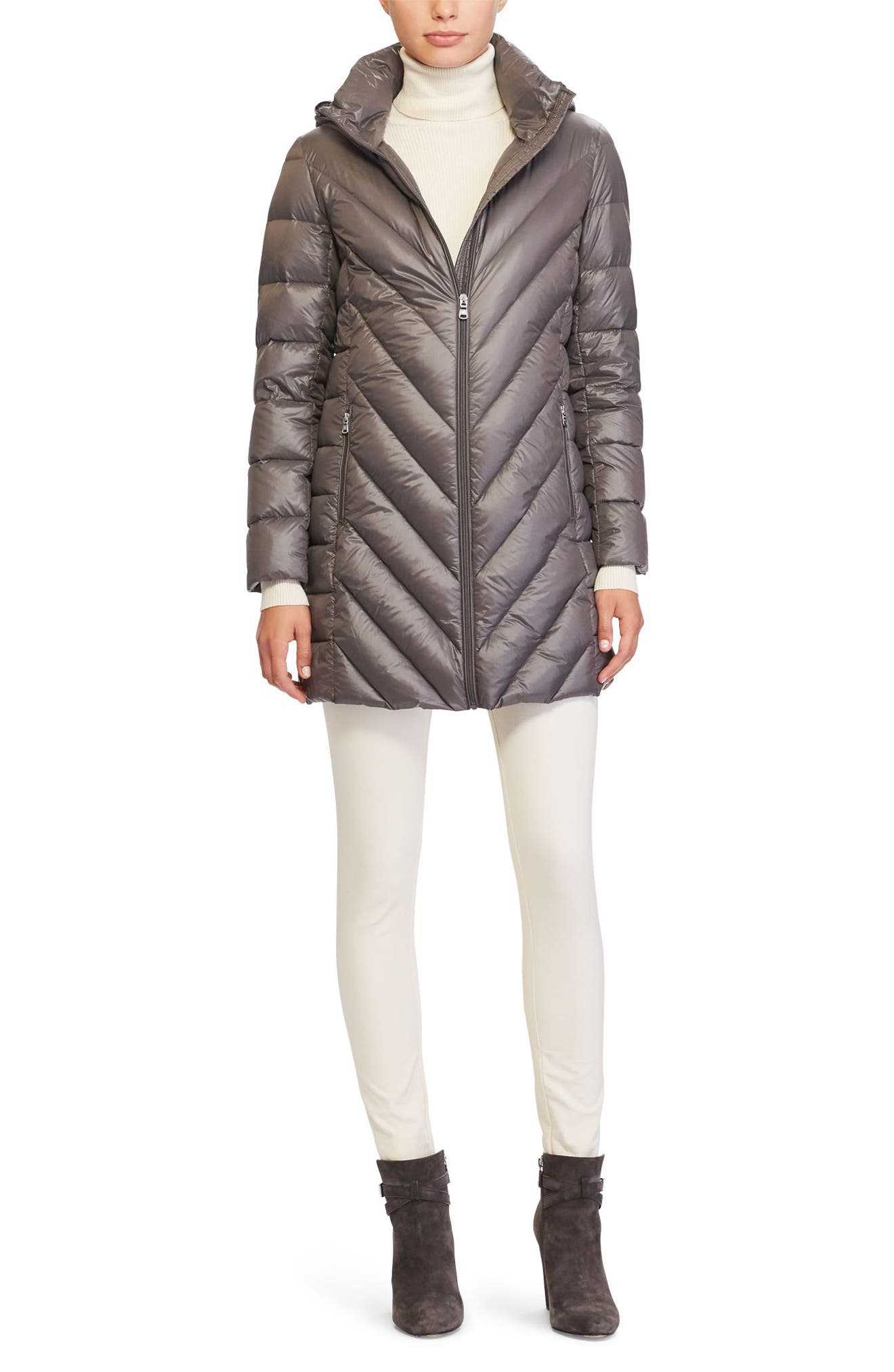 Alternate Image 2  - Lauren Ralph Lauren Chevron Quilted Down Jacket