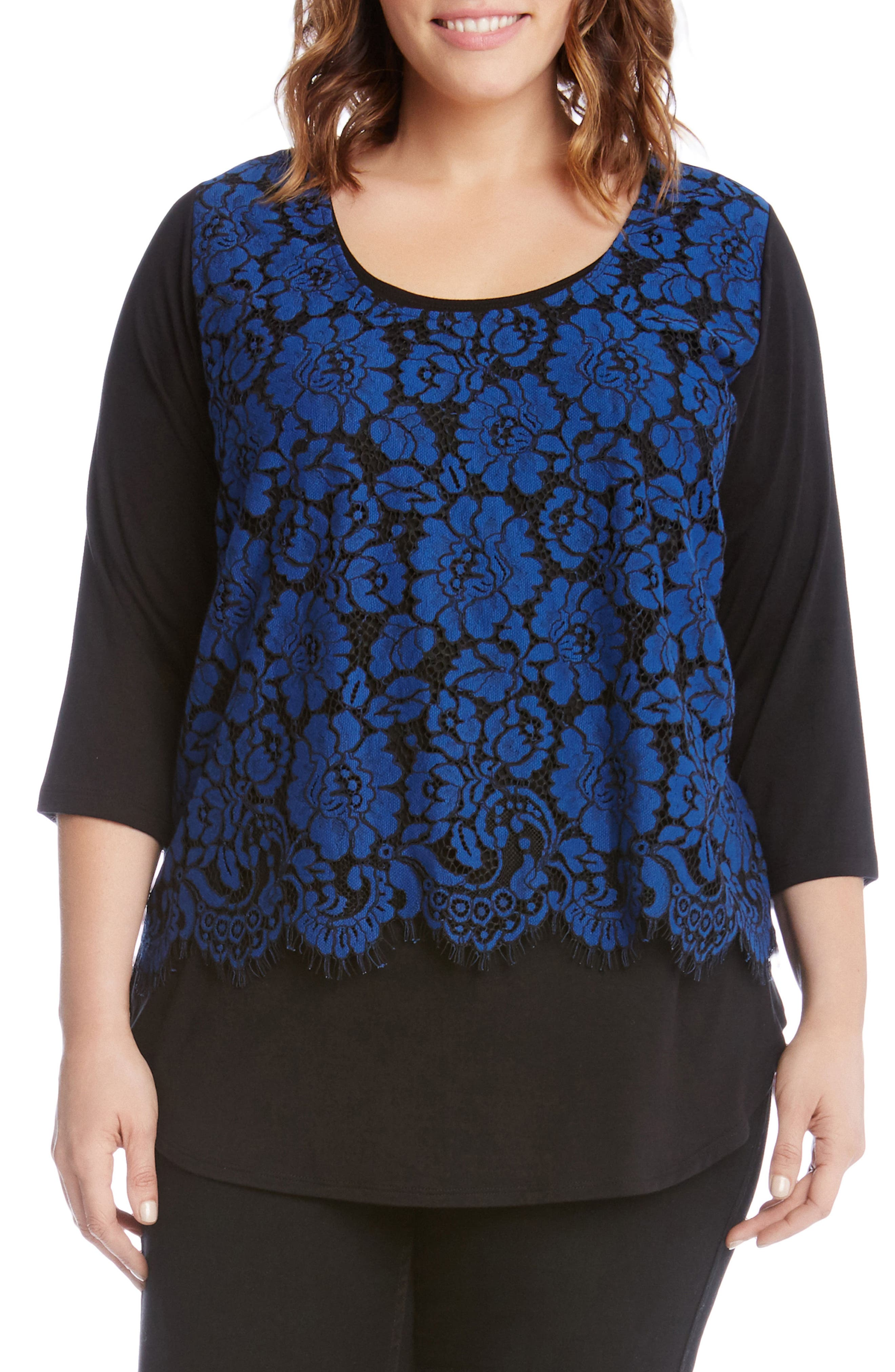 Lace Overlay Top,                         Main,                         color, Black With Blue