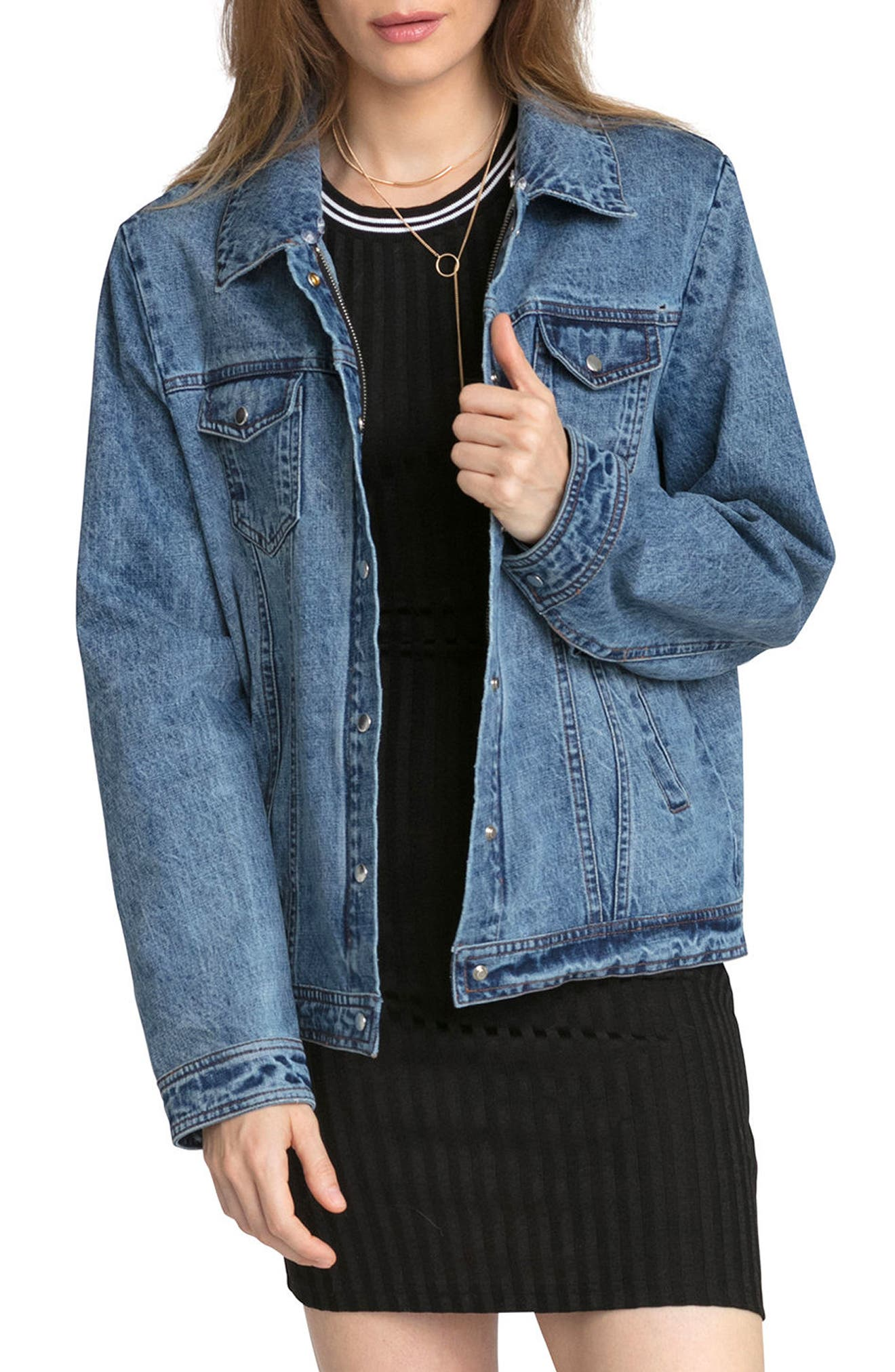 Alternate Image 5  - Avec Les Filles Denim Trucker Jacket with Removable Faux Fur Trim
