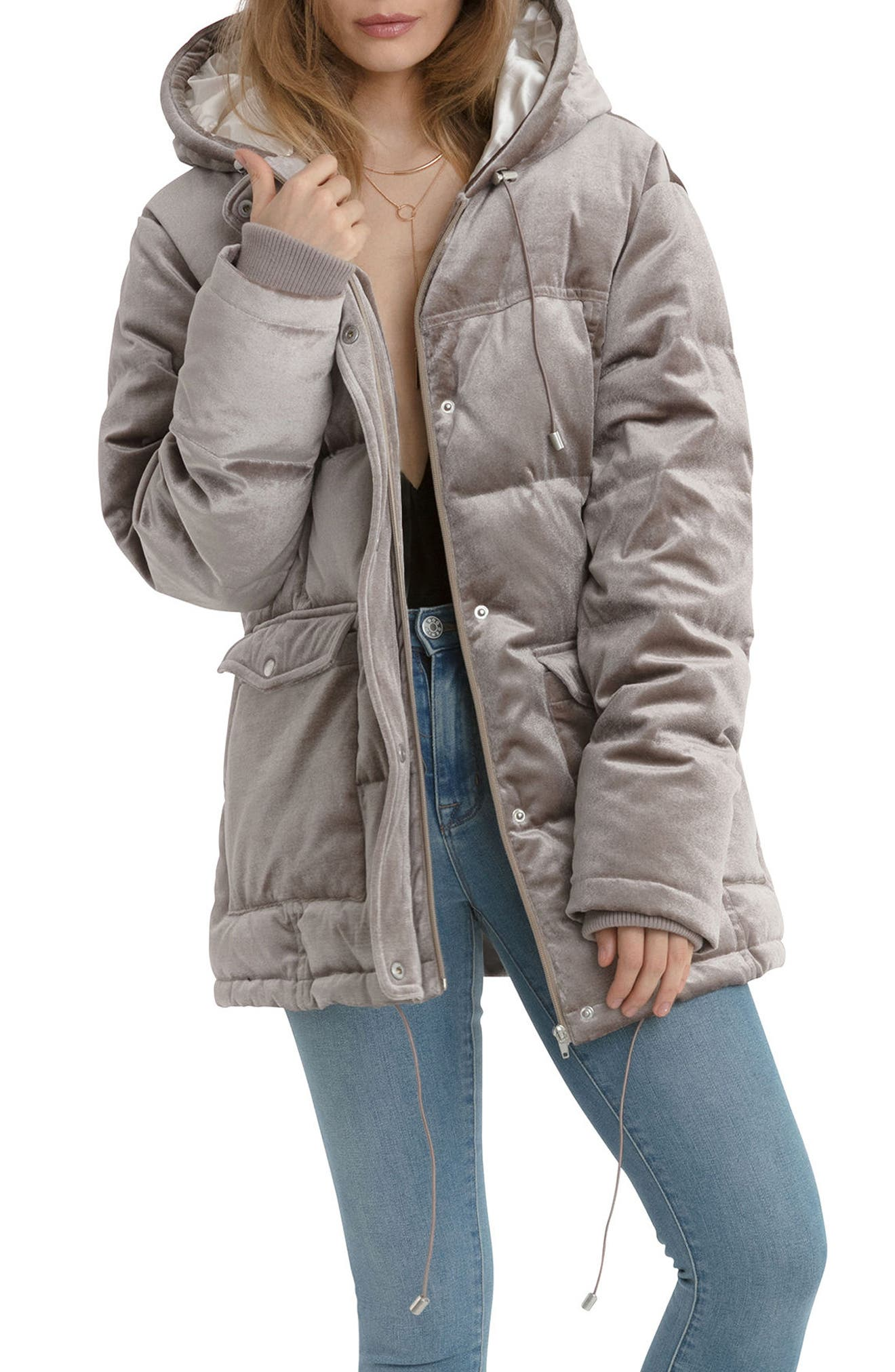 Main Image - Avec Les Filles Velvet Down & Feather Fill Hooded Puffer Jacket