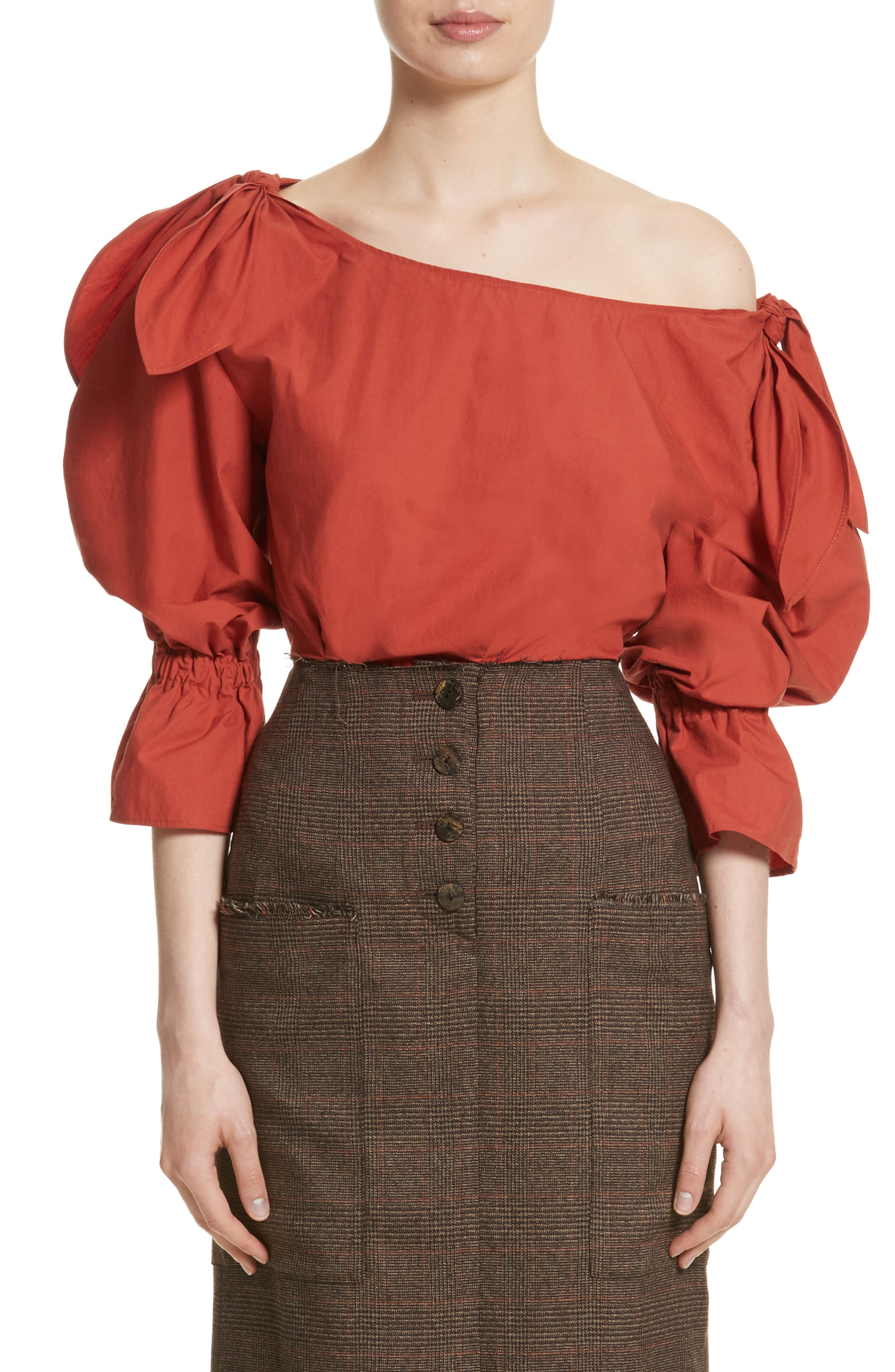 Michelle One-Shoulder Puff Sleeve Blouse,                         Main,                         color, Rust