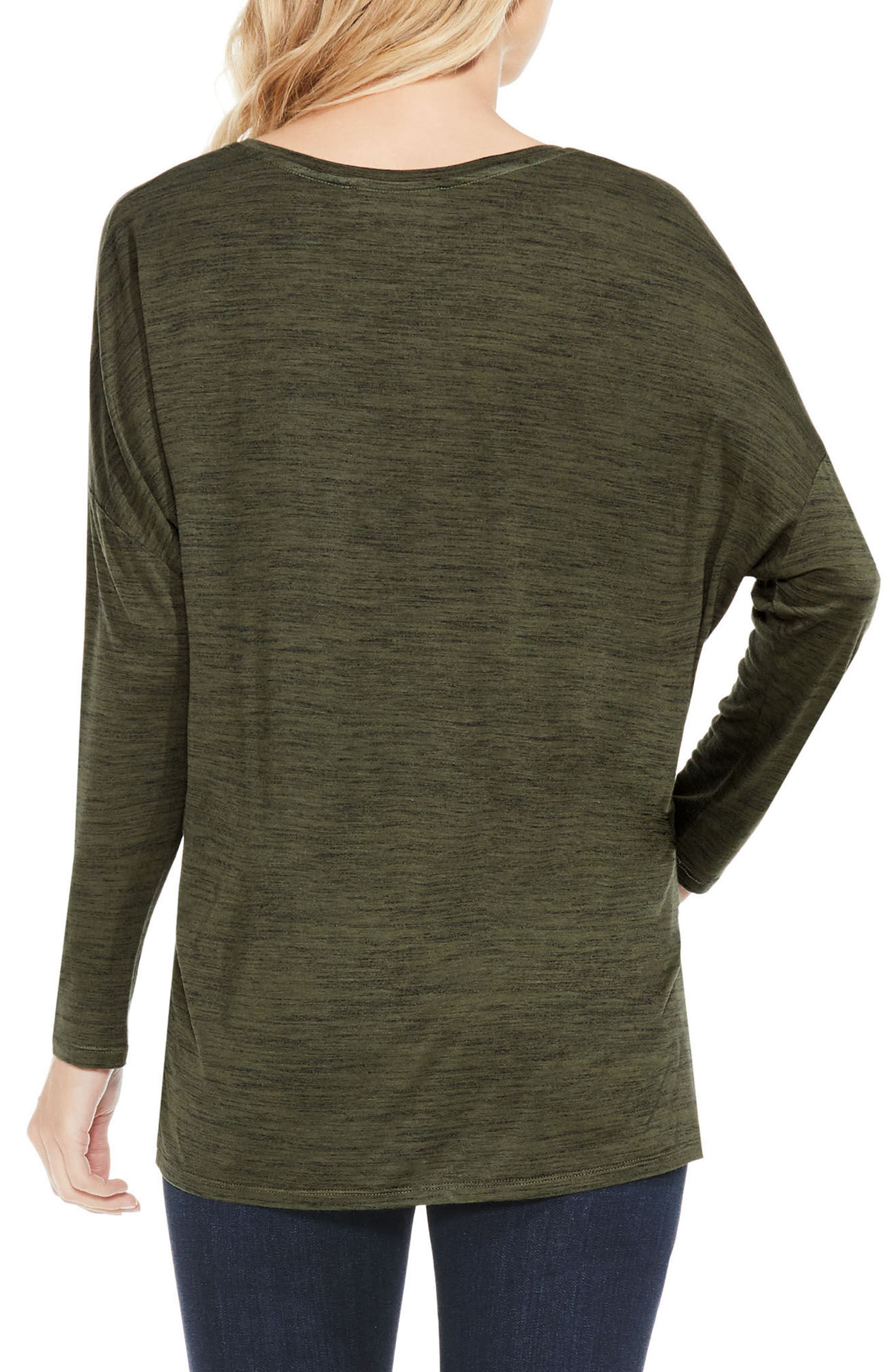 Space Dyed V-Neck Top,                             Alternate thumbnail 2, color,                             Military Green